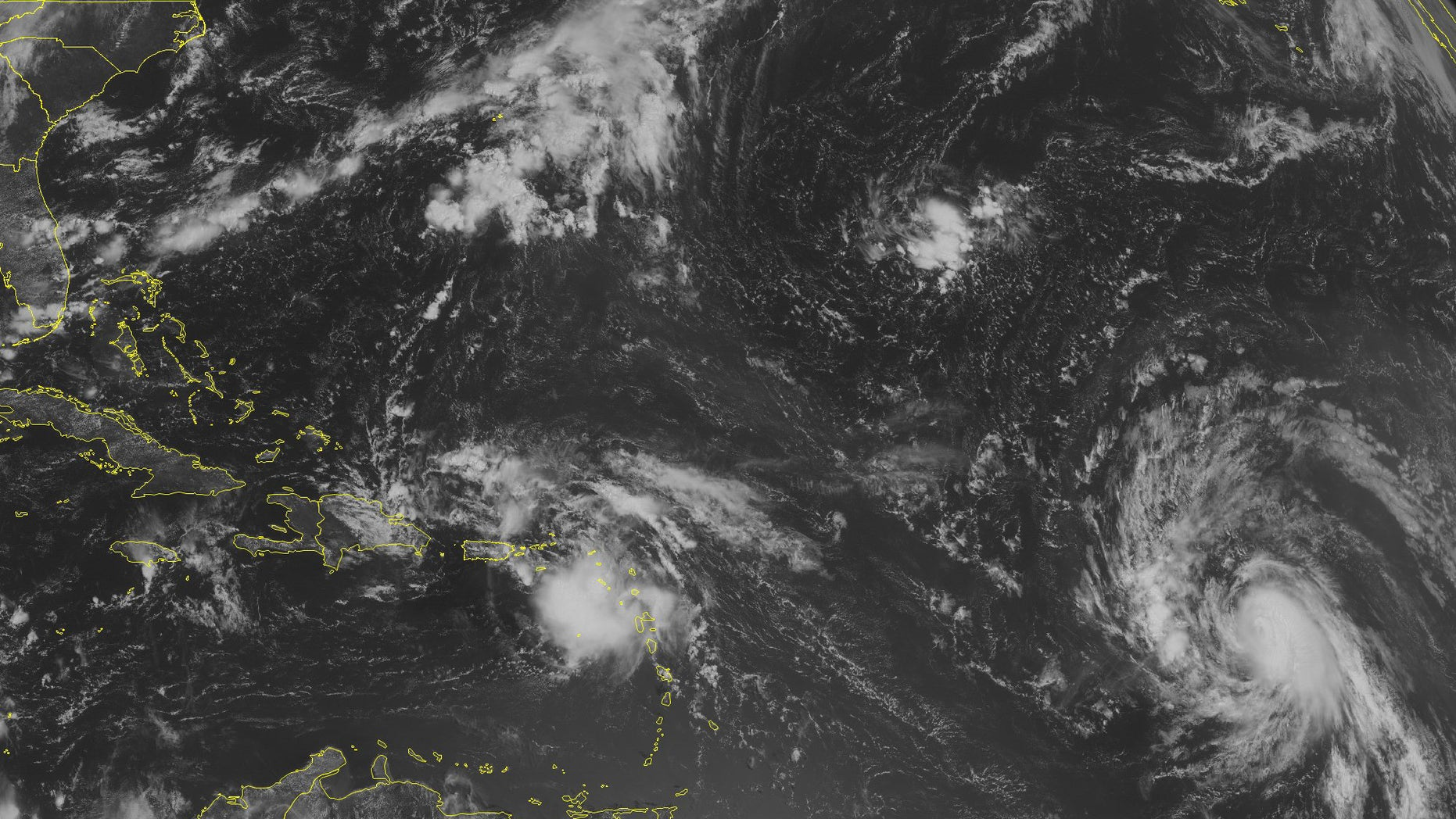 NOAA satellite image taken Wednesday, Aug. 24, 2016. at 9:45 a.m. EDT. over the northeastern Caribbean Sea.