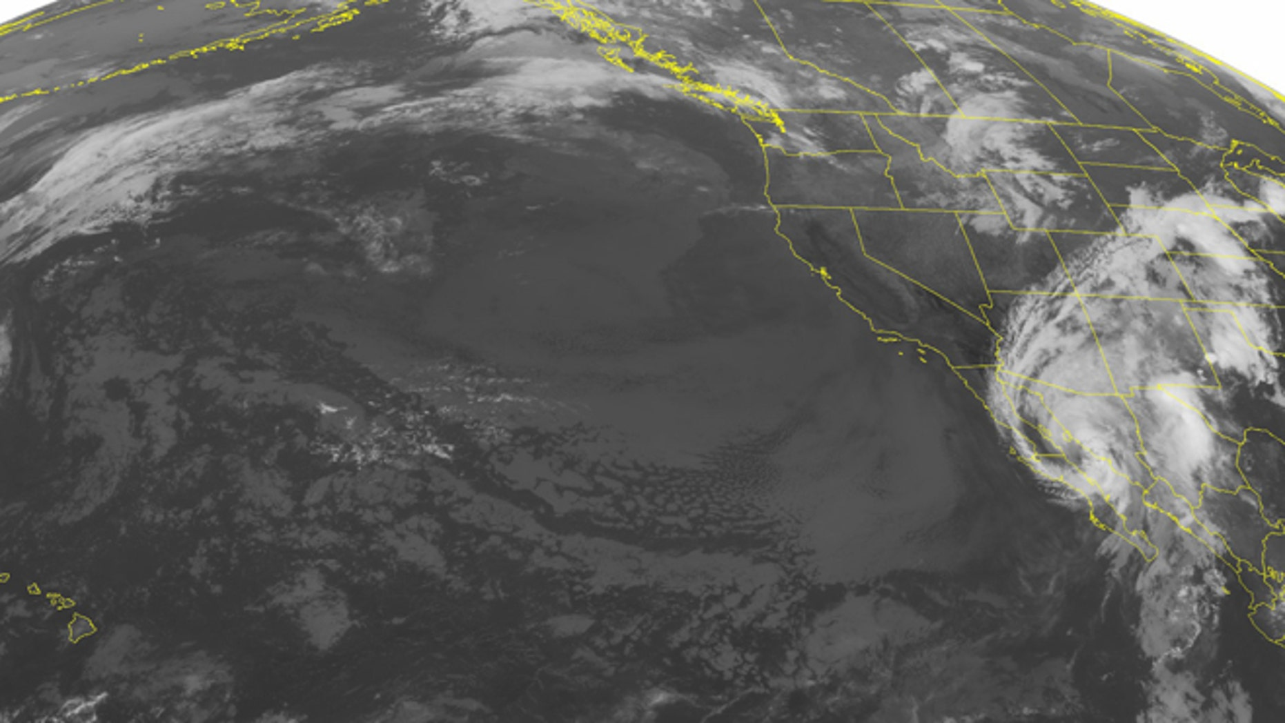 NOAA satellite image from Sept. 7, 2016 at 01:00 AM EDT shows Hurricane Newton moving northward up the Baja Mexico coast.