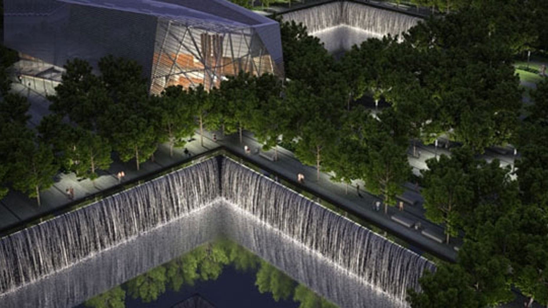 The Memorial & Museum at night. Rendering by Squared Design Lab