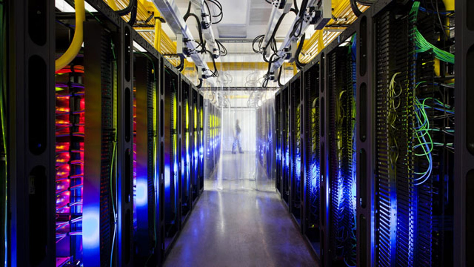 In this undated file photo made available by Google shows the campus-network room at a data center in Council Bluffs, Iowa. (AP Photo/Google, Connie Zhou, File)