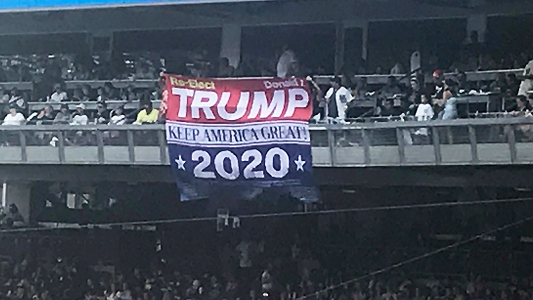 """A huge """"Trump 2020"""" banner was unfurled at the New York Yankees game in the Bronx on Sunday."""