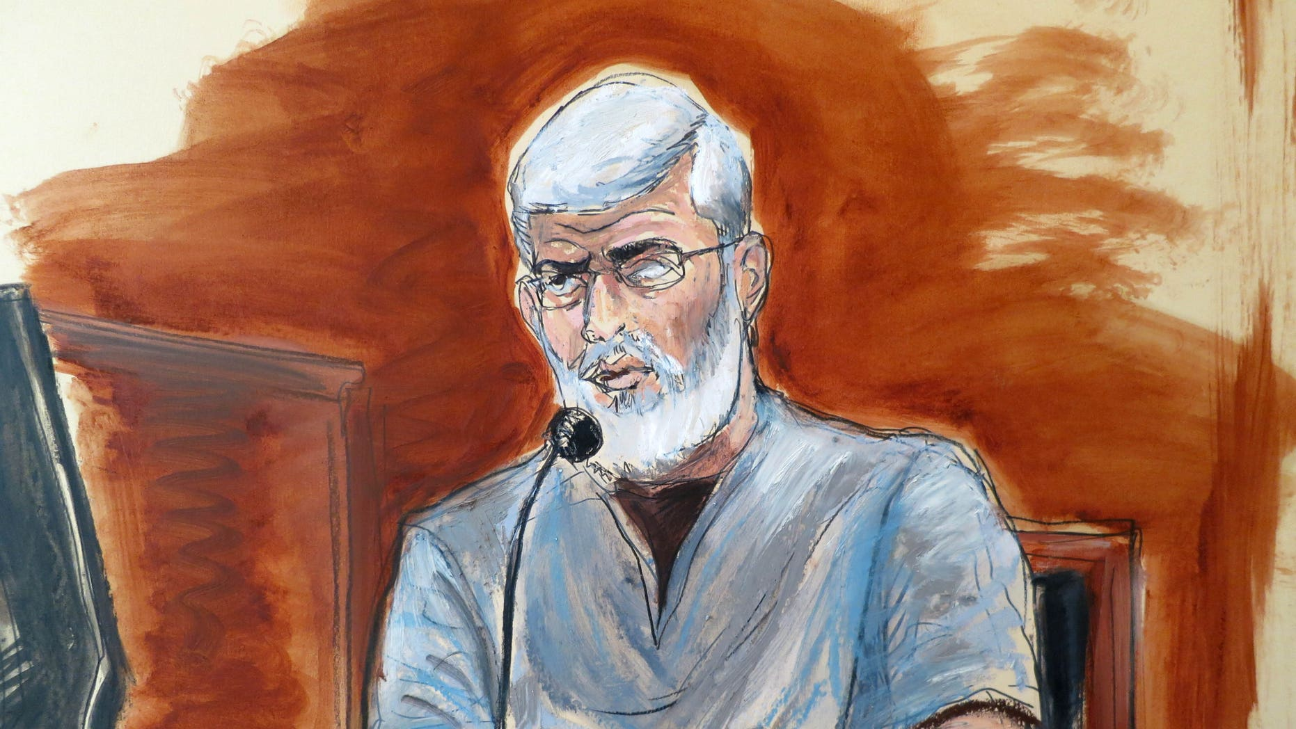 May 7, 2014 - Courtroom sketch of Mustafa Kamel Mustafa, testifying  in his own defense at federal court in New York. Egyptian cleric known for incendiary rhetoric at a London mosque denied supporting terrorism in testimony at his Manhattan trial, saying he would give up freedom if the price was dignity and beliefs.