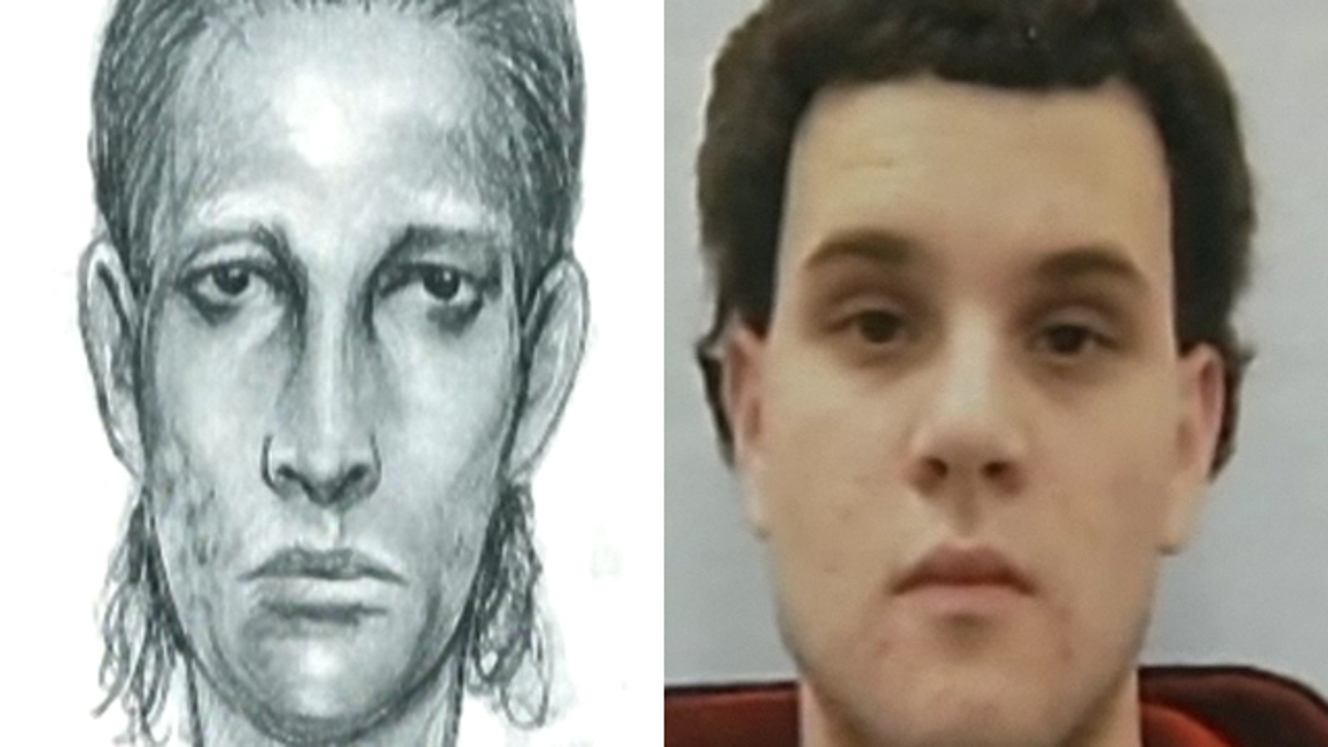 Mar. 24, 2012: This photo shows Joshua Basin, right, and a police sketch of his alleged attacker.