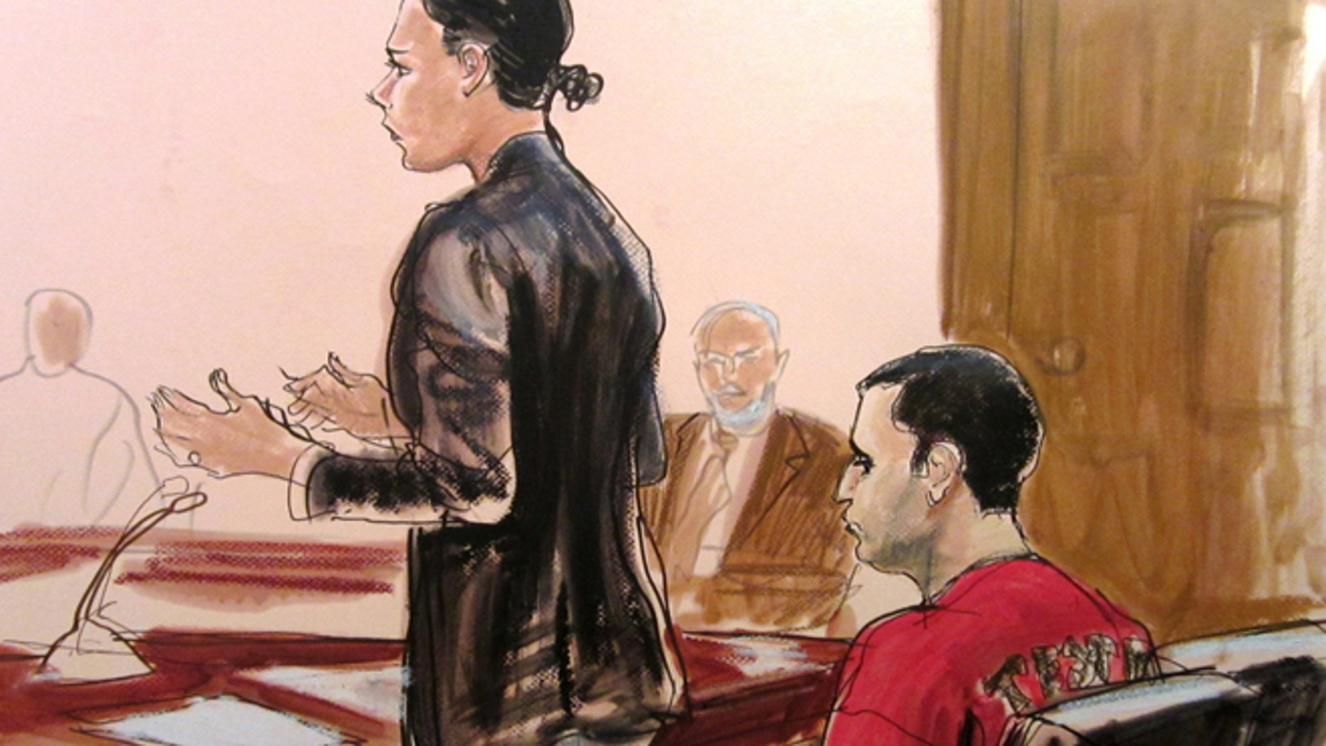 In this Oct. 25, 2012, file courtroom drawing, Federal Defender Julie Gatto requests bail for her client, New York City Police Officer Gilberto Valle, right, at Manhattan Federal Court in New York.