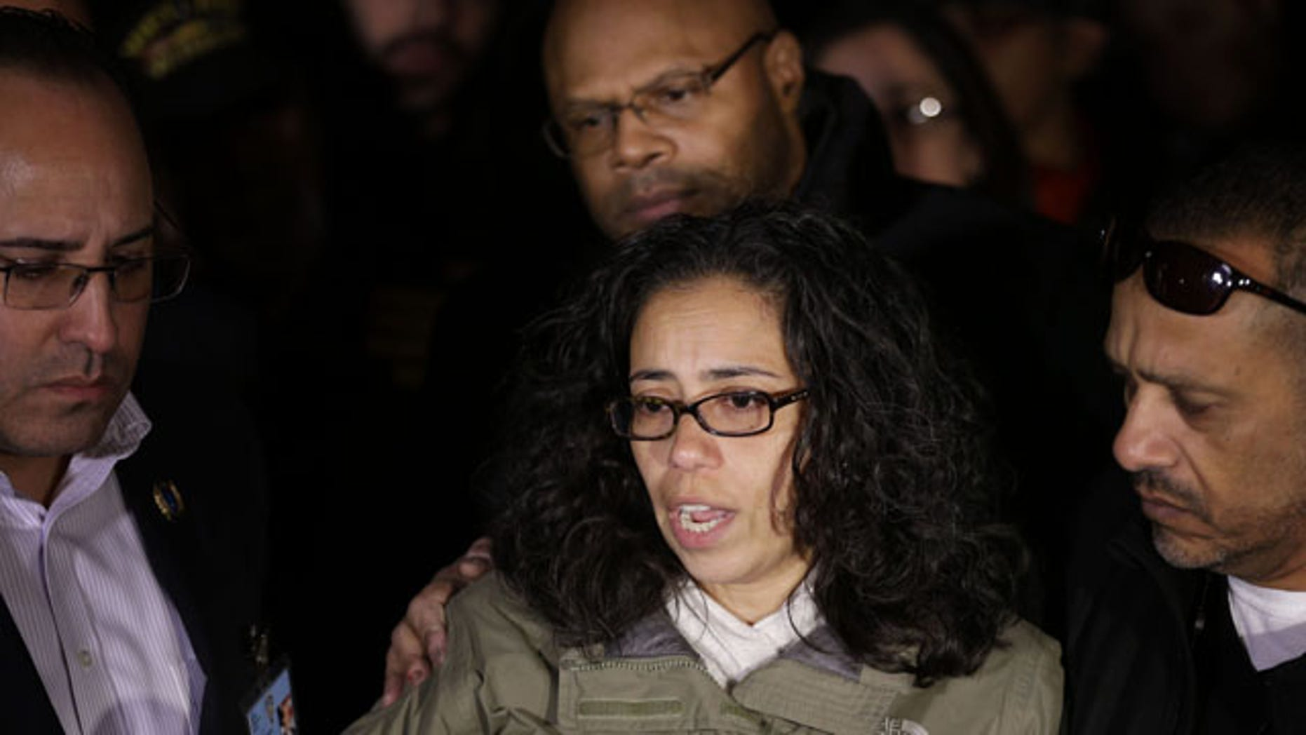 Dec. 21, 2014: Lucy Ramos, aunt of Officer Rafael Ramos, speaks during a news conference with members of the Ramos family in the Brooklyn borough of New York. (AP Photo/Seth Wenig)