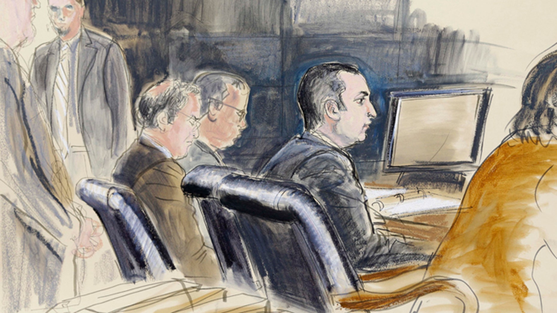 Feb. 25:In this courtroom sketch, Gilberto Valle is seen in federal court in New York.