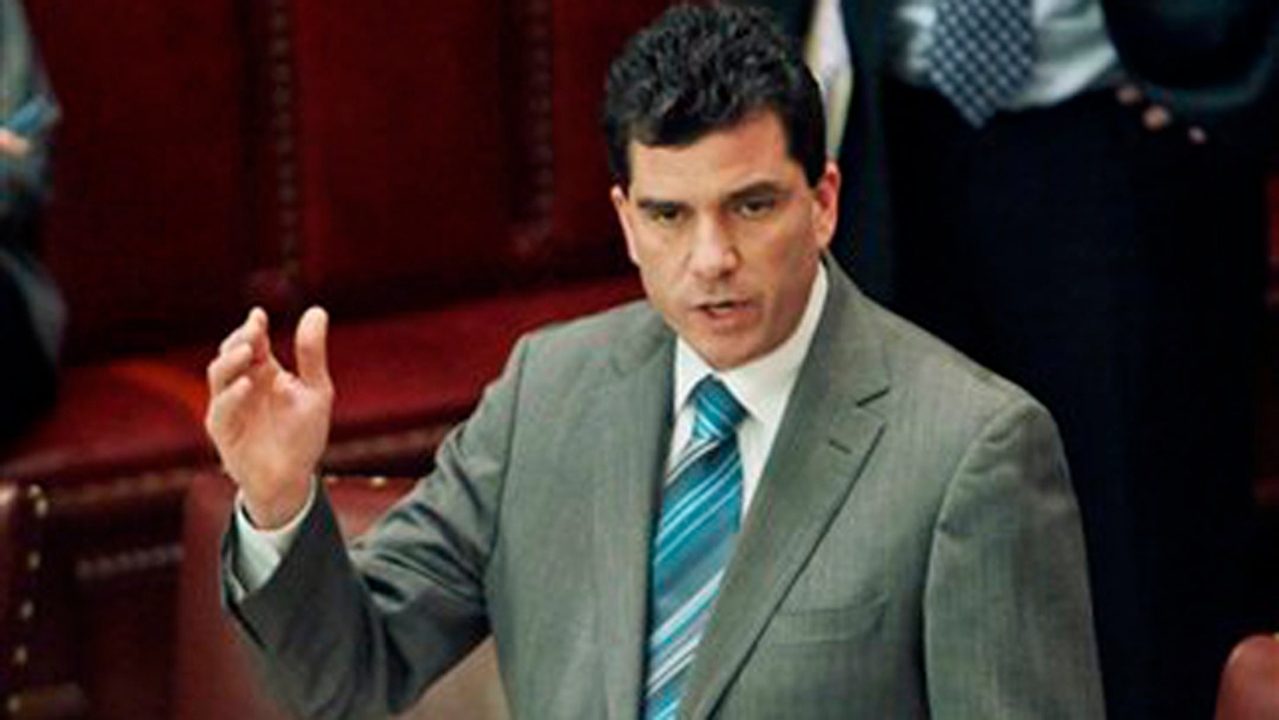 March 2, 2011:  Sen. Mark Grisanti, R-Buffalo, speaks in the Senate Chamber at the Capitol in Albany, N.Y.