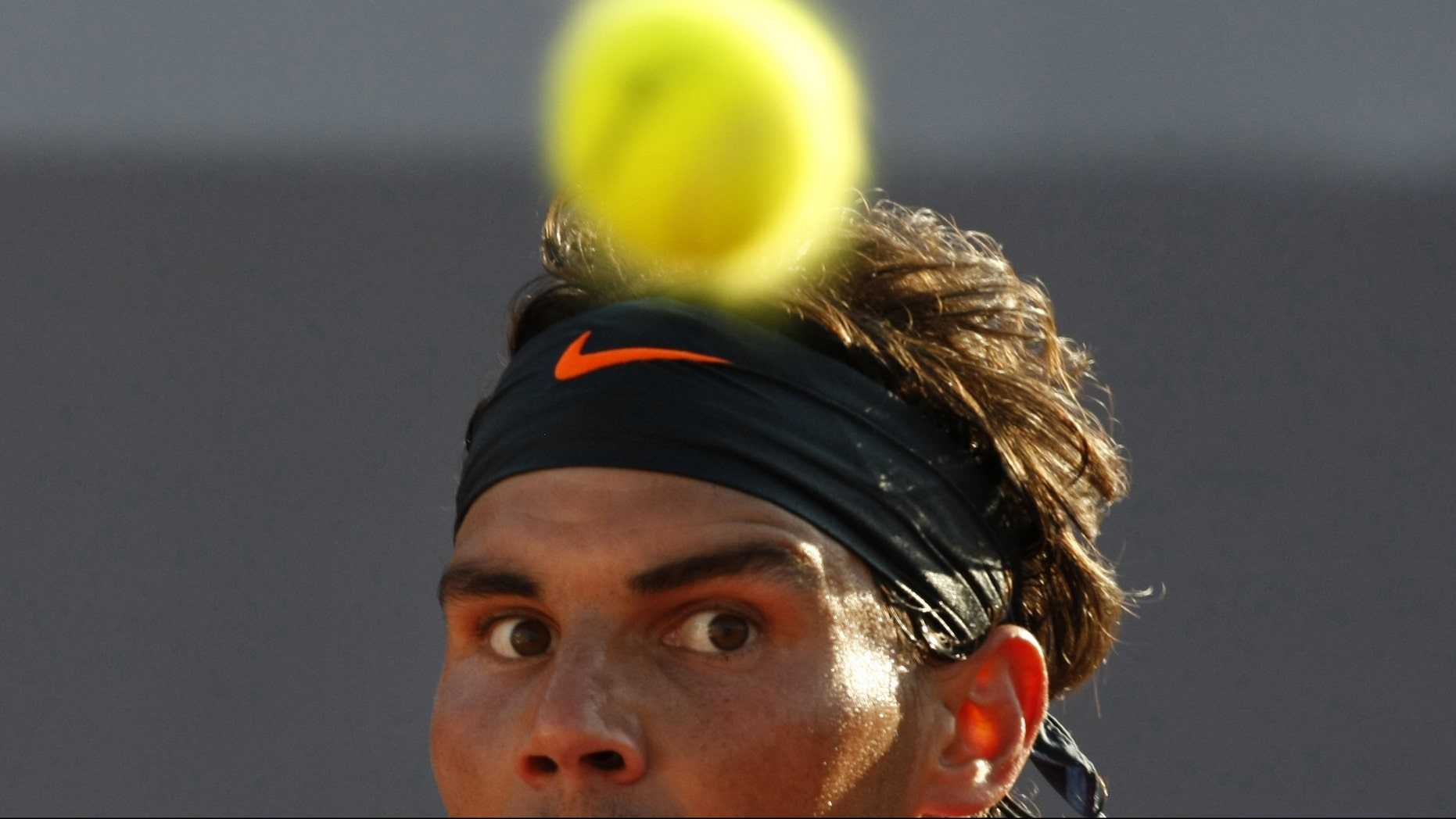 Spain's Rafael Nadal eyes the ball during his match against Spain's Daniel Gimeno-Traver at the  VTR Open in Vina del Mar, Chile,  Friday, Feb. 8, 2013.