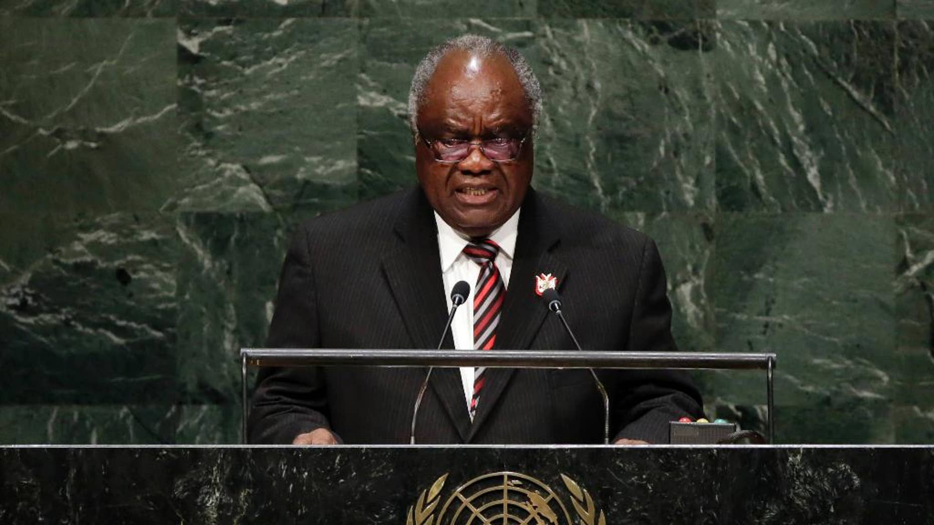 FILE - In this Friday, Sept. 26, 2014 file photo, Namibian President Hifikepunye Pohamba addresses the 69th session of the United Nations General Assembly at U.N. headquarters. Pohamba has won the 2014 Ibrahim Prize for African leadership, the first African leader deemed worthy of the honor since 2011. Chairman of the prize committee Salim Ahmed Salim announced that Pohamba won the $5 million prize Monday, March 2, 2015 in Nairobi. (AP Photo/Richard Drew, File)