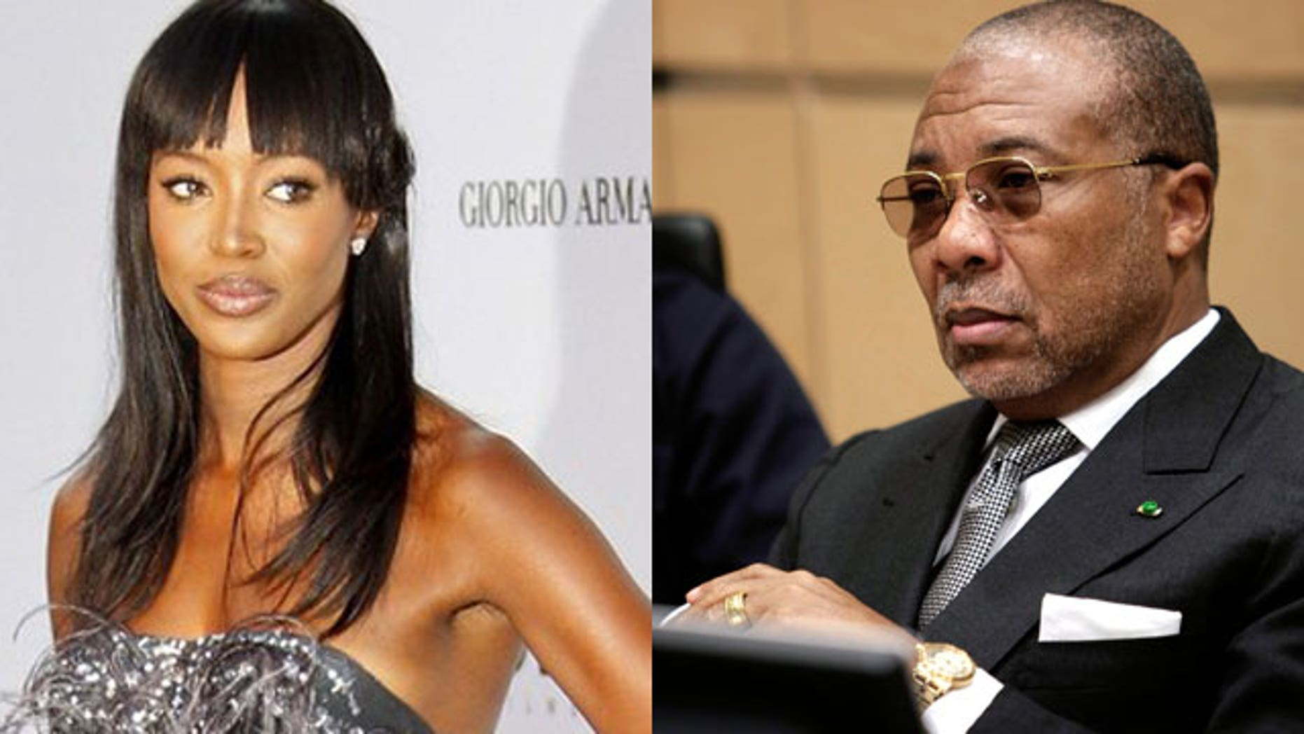 Naomi Campbell, left, and Charles Taylor, former president of Liberia.