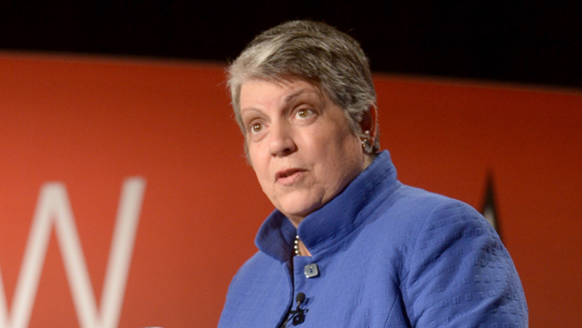 SAN FRANCISCO, CA - MAY 29:  The University of California President Janet Napolitano speaks onstage during The New York Times Health For Tomorrow Conference at Mission Bay Conference Center at UCSF on May 29, 2014 in San Francisco, California.  (Photo by Michael Loccisano/Getty Images for New York Times)