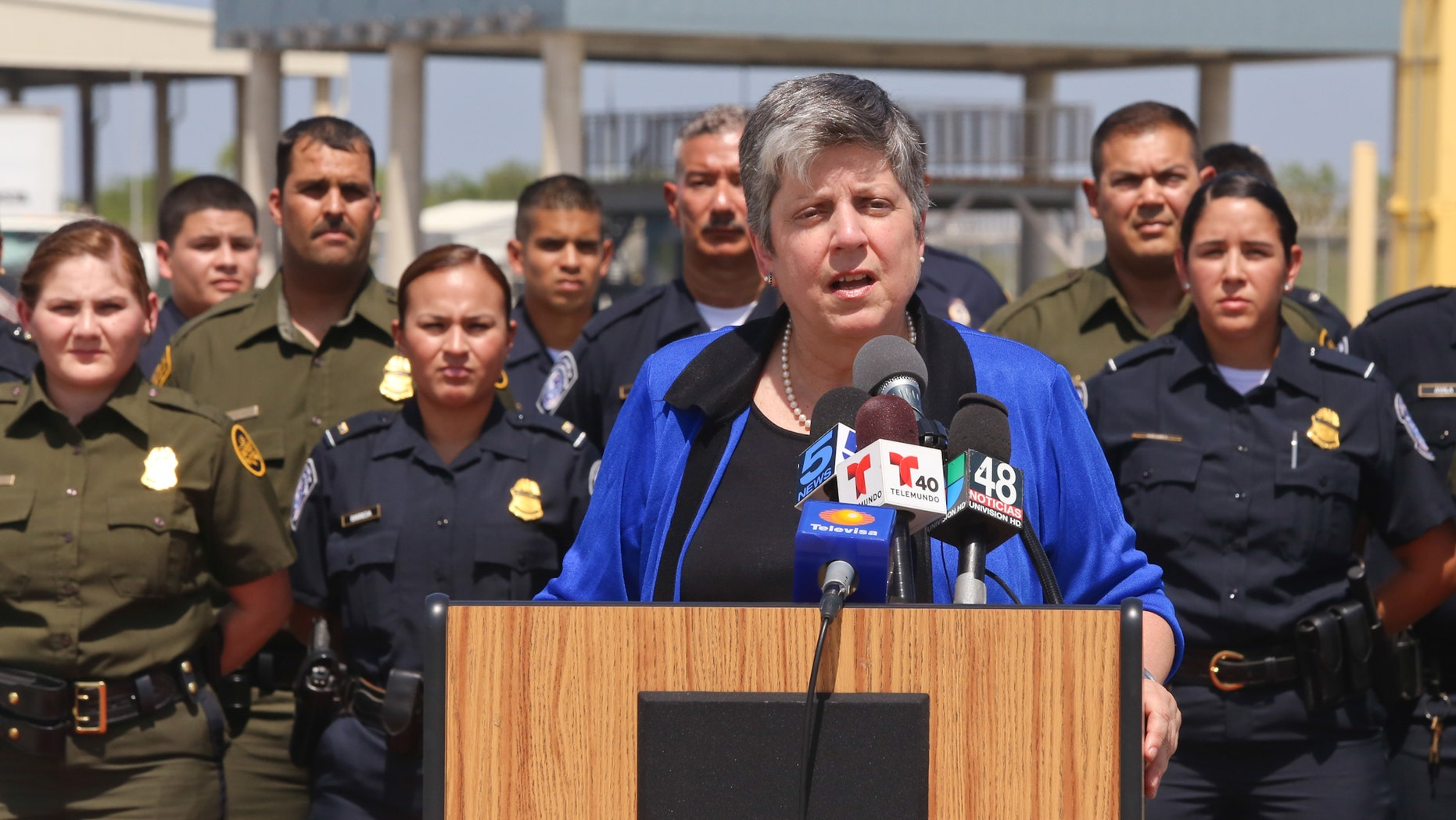 Homeland Security Secretary Janet Napolitano speaks during a brief stop at the Veterans International Bridge in Brownsville, Texas on Tuesday afternoon, July 23, 2013.