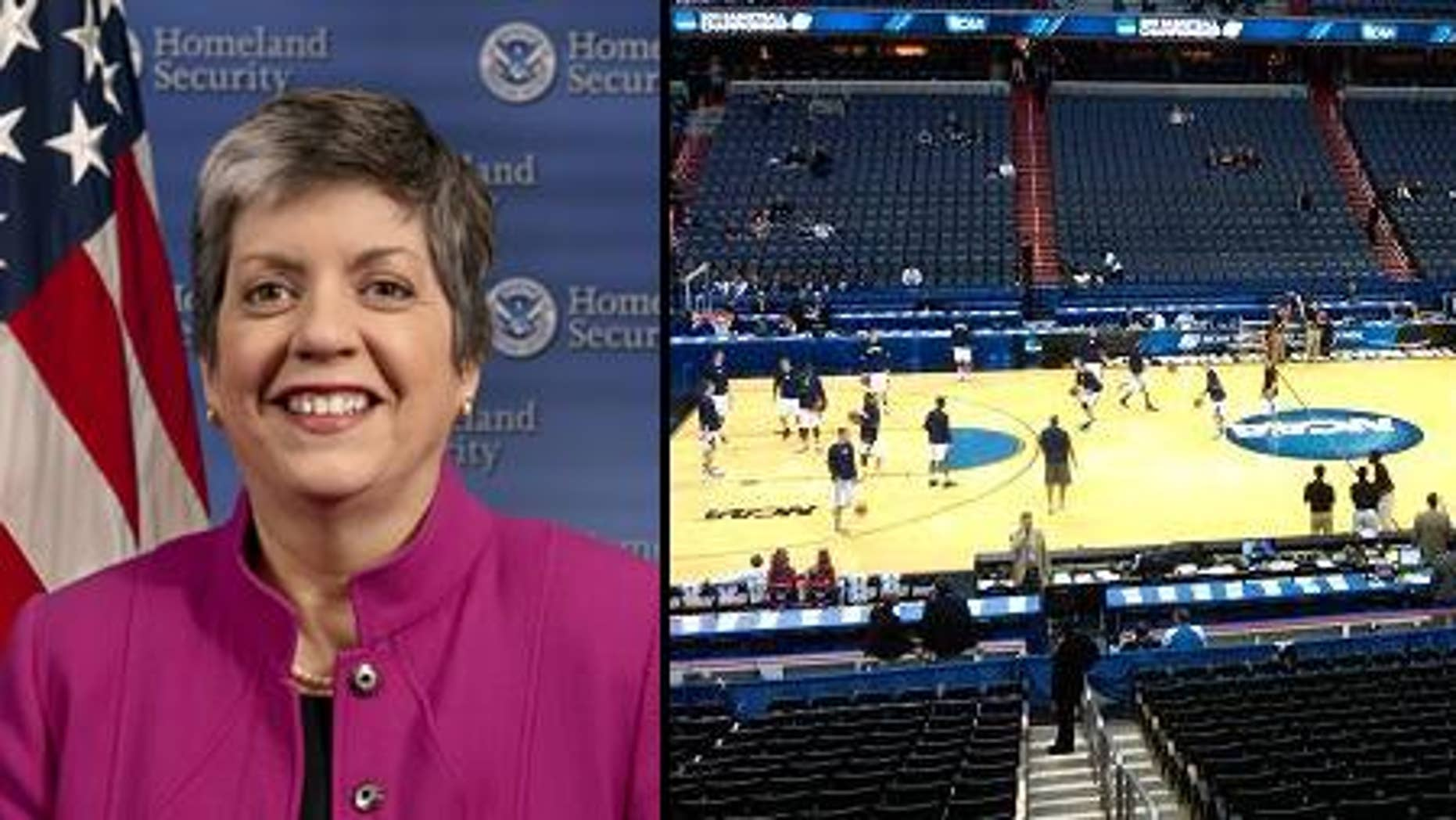 DHS Secretary Janet Napolitano // NCAA players pratice at DC's Verizon Center on March 17