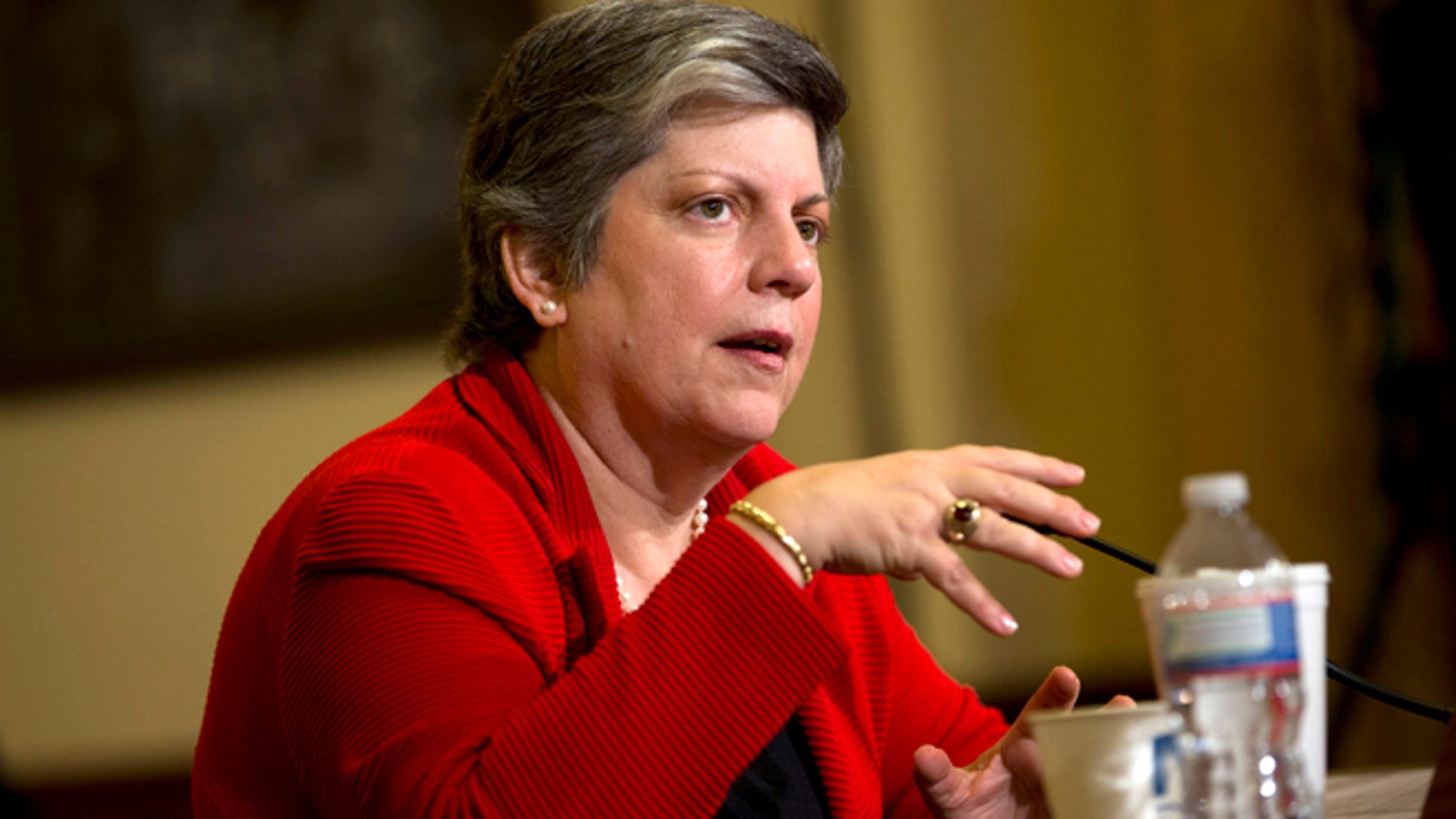In this April 18, 2013 file photo, Homeland Security Secretary Janet Napolitano testifies before the House Homeland Security Committee on Capitol Hill in Washington.