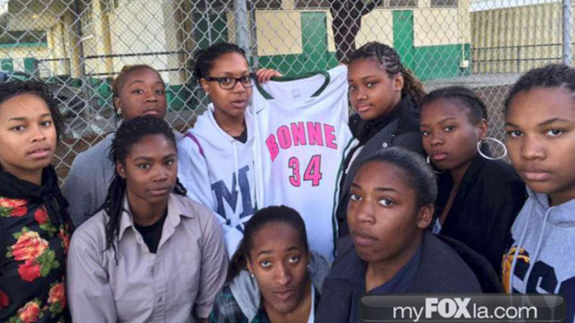 This photo, obtained by Fox affiliate KTTV, shows members of the Narbonne High School girl's basketball team with one of the pink-lettered jerseys worn as part of Breast Cancer Awareness Month.