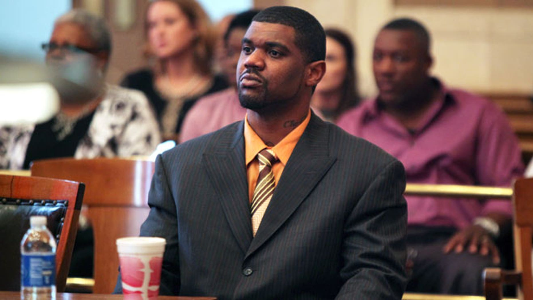 April 24, 2012: Former Cincinnati Bengals NFL football linebacker Nate Webster, appears in court for closing arguments in his trial in Cincinnati.