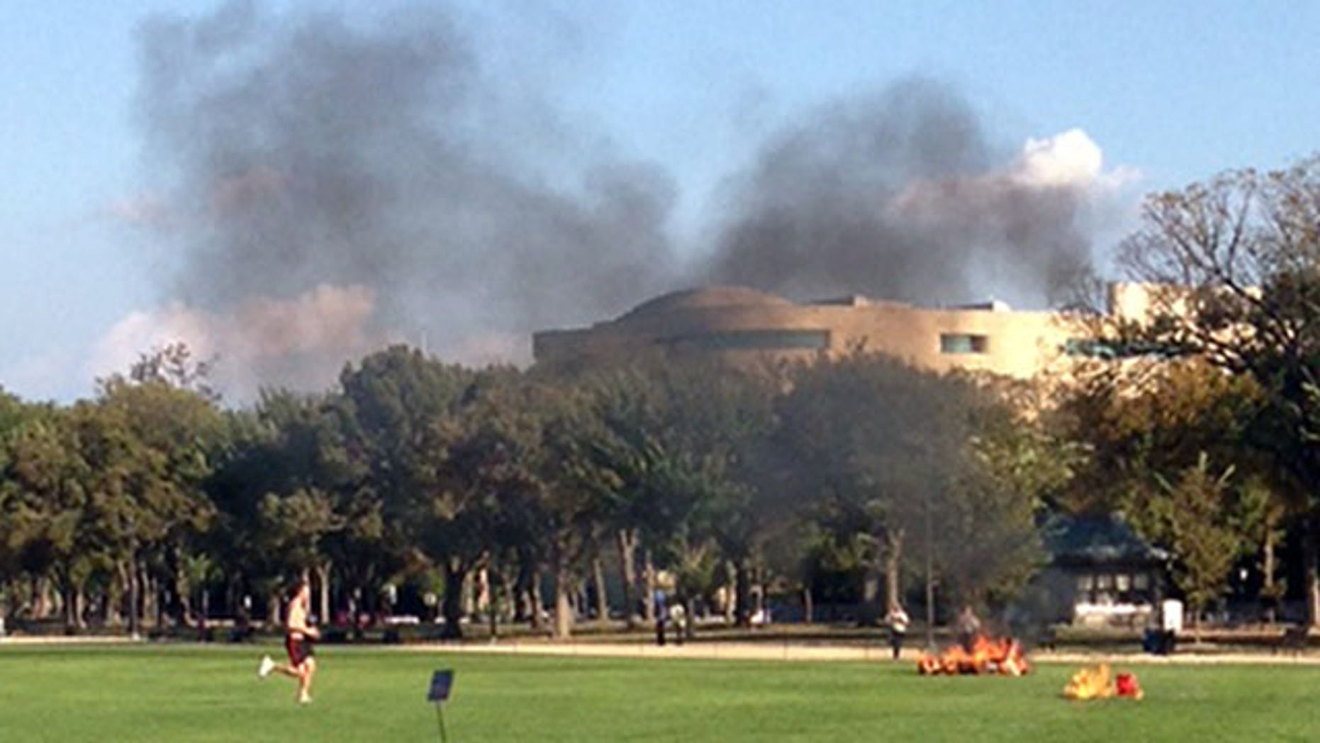 October 4, 2013: In this photo provided by Katy Scheflen, people run to a man who set himself on fire on the National Mall in Washington. (AP Photo)
