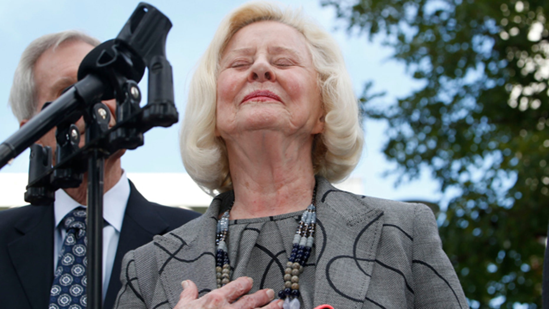 Sept. 21, 2015: Yvonne Bertolet reacts during a news conference regarding a verdict for the death of her daughter, Toni Henthorn, outside federal court in Denver. A federal jury convicted Toni Henthorn's husband, Harold Henthorn, of murder for pushing his wife to her death off a cliff in a remote part of Rocky Mountain National Park as they hiked to celebrate their wedding anniversary in 2012. (AP Photo/David Zalubowski)