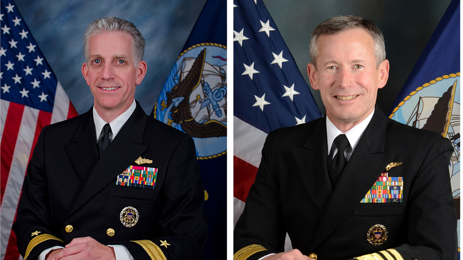 ADDS DATE OF ANNOUNCEMENT - This undated photo provided by the U.S. Navy shows Rear Adm. Bruce F. Loveless, left, and Vice Adm. Ted Branch in an offical portraits. The Navy announced Friday night Nov. 8, 2013 it has suspended access to classified material of Rear Adm. Bruce F. Loveless and Adm. Ted Branch in connection with a massive bribery scheme in Asia involving prostitutes and luxury travel. (AP Photo/US Navy)