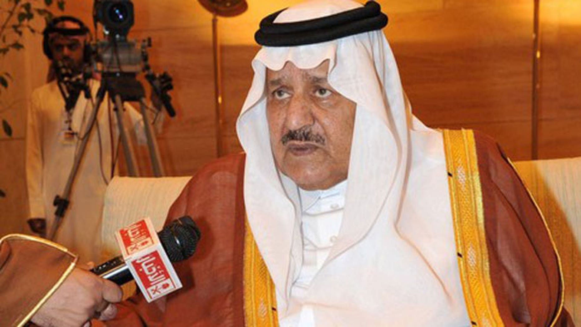 October 29, 2011: Prince Nayef bin Abdulaziz al-Saud, newly appointed Crown Prince speaks at an interview at the Riyadh Governor's Palace.