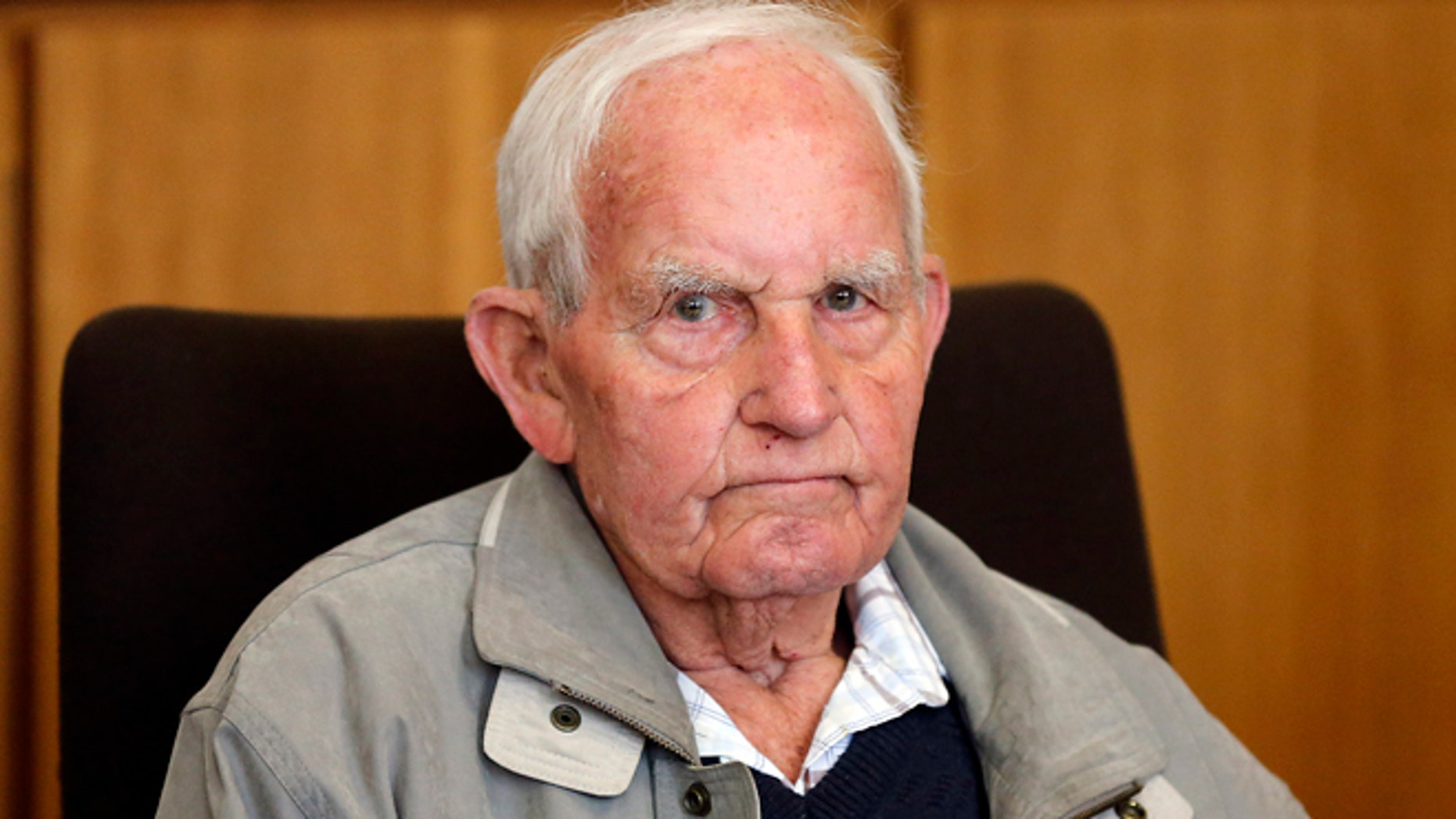 Sept. 2, 2013: Siert Bruins , 92-year-old former member of the Nazi  Waffen SS, sits in the courtroom of the court in Hagen, Germany.
