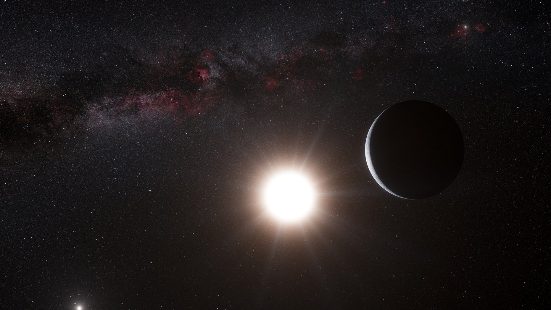 Oct. 16, 2012: This artists impression made available by the European Southern Observatory shows a planet, right, orbiting the star Alpha Centauri B, center, a member of the triple star system that is the closest to Earth. Alpha Centauri A is at left. The Earth's Sun is visible at upper right.