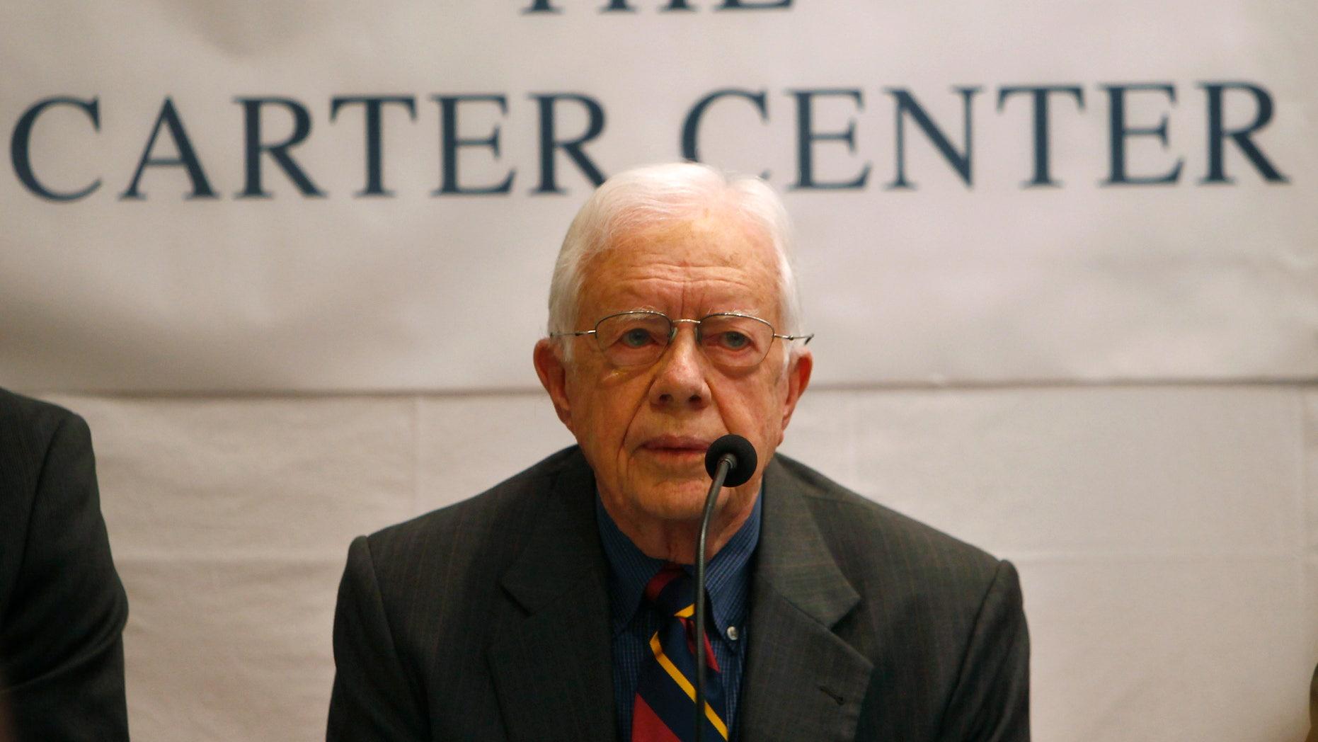 April 1, 2013 - Former U.S. President Jimmy Carter addresses a press conference in Katmandu.