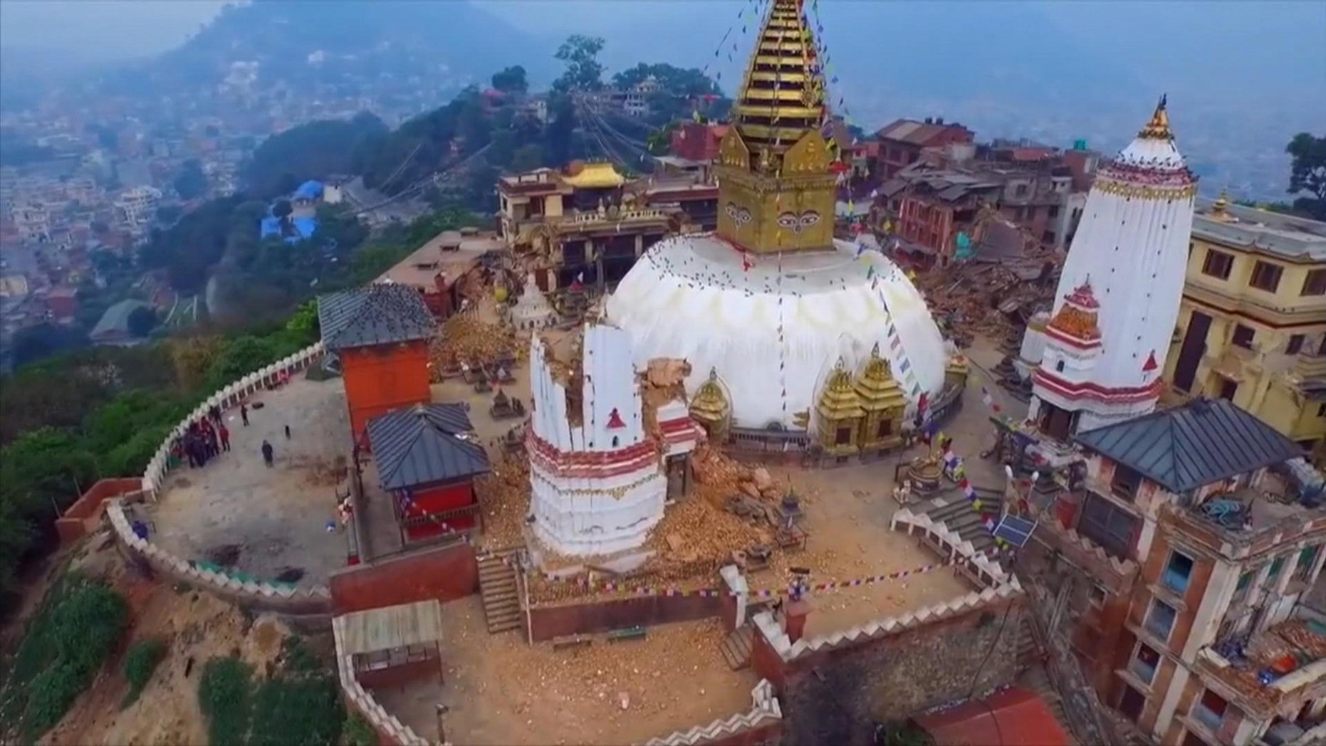 Video taken from a drone Saturday April 25 2015 shows devastation in the Nepalese capital Kathmandu.