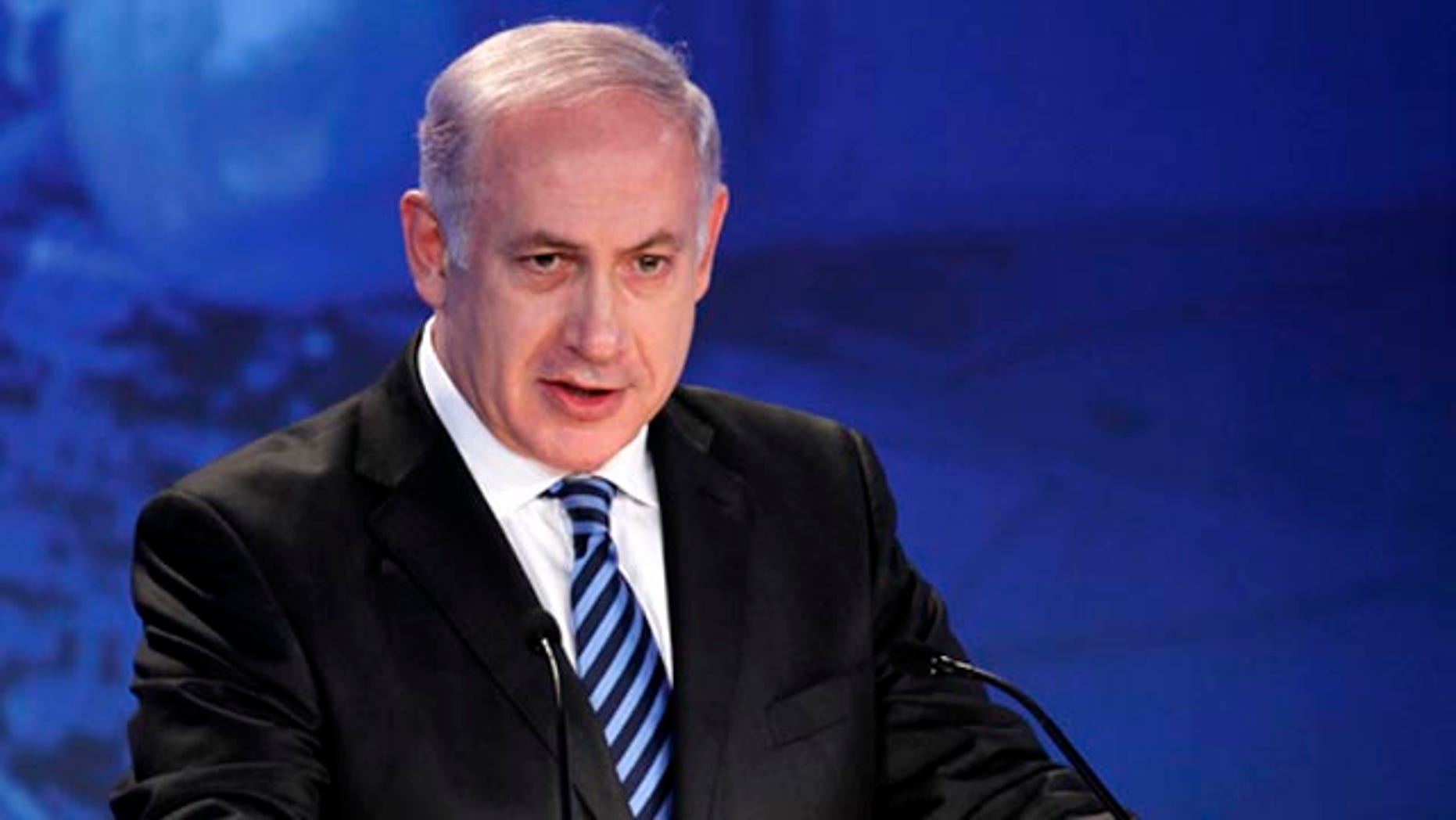 Israeli Prime Minister Benjamin Netanyahu, shown here at the annual General Assembly of the Jewish Federations of North America in New Orleans, defends construction in east Jerusalem.