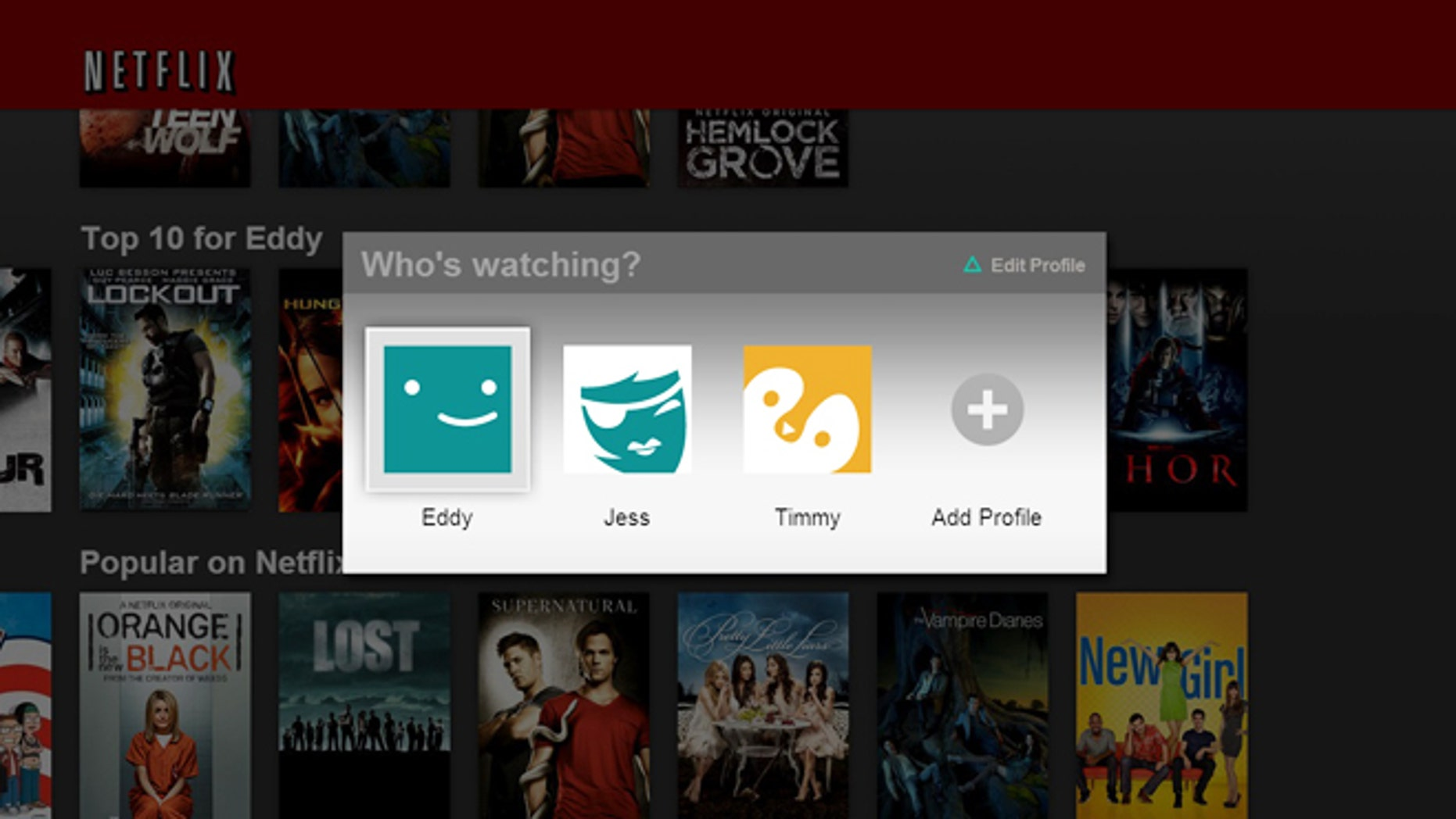A new user profile feature on Netlfix can splinter a single account into up to five different profiles at no additional charge.