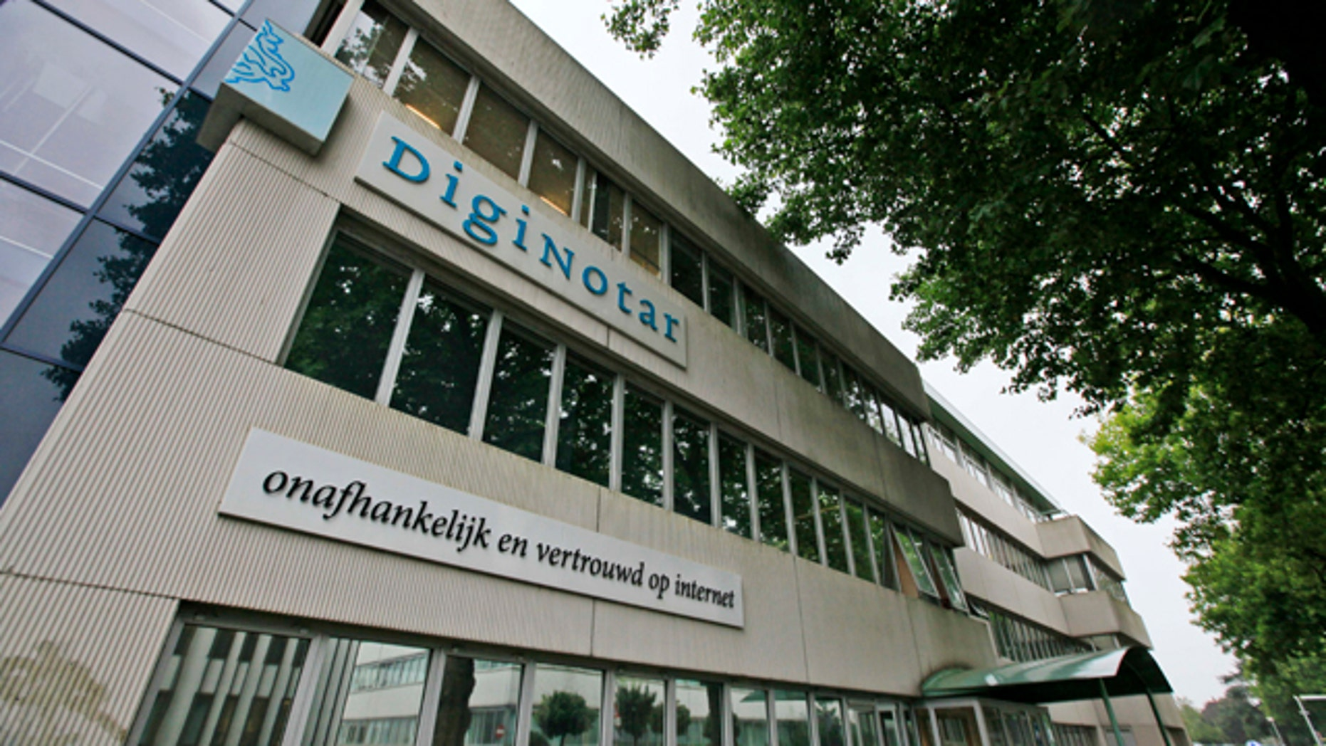 Sept. 6, 2011: Exterior view of the building housing Internet security firm DigiNotar in Beverwijk, north-western Netherlands. Dutch prosecutors say they are investigating DigiNotar for possible criminal negligence after it was slow to disclose a hacking incident that compromised dozens of websites and likely helped the Iranian government spy on dissidents for a month.