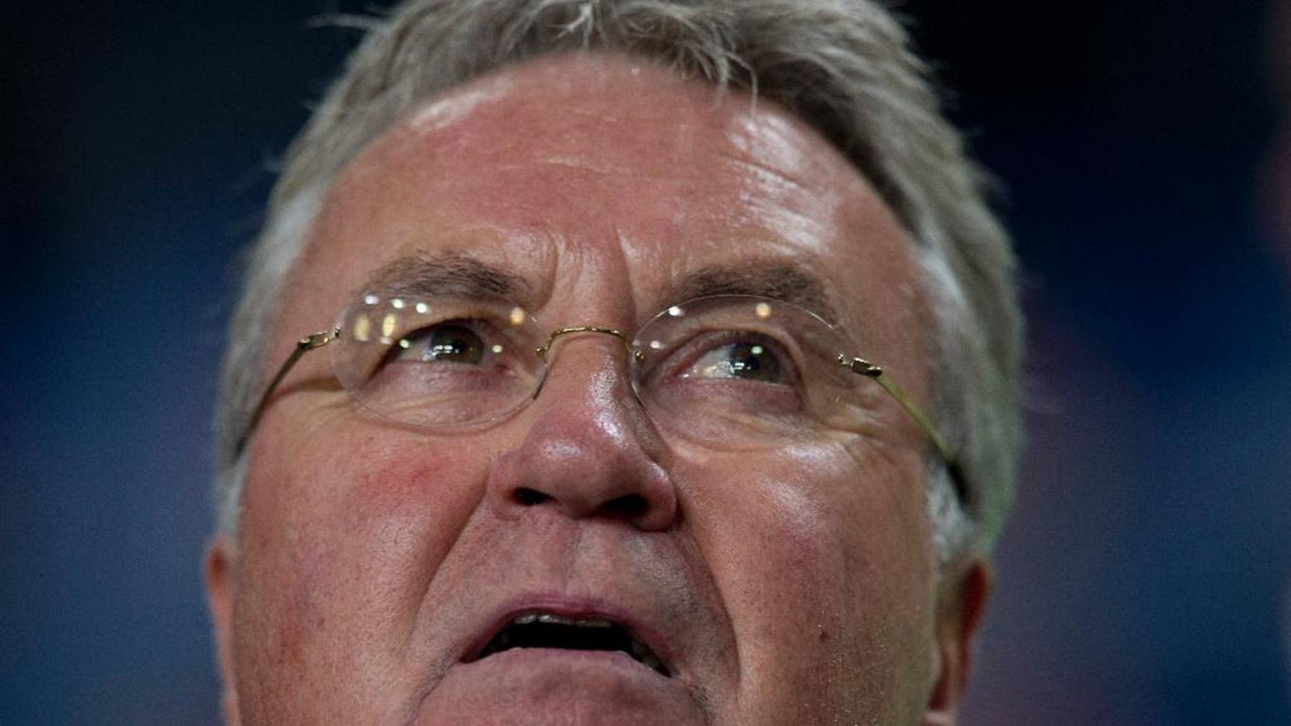 Netherlands head coach Guus Hiddink watches his players prior to the Euro 2016 qualifying match between The Netherlands and Kazakhstan at ArenA stadium in Amsterdam, Netherlands, Friday, Oct. 10, 2014. (AP Photo/Peter Dejong)