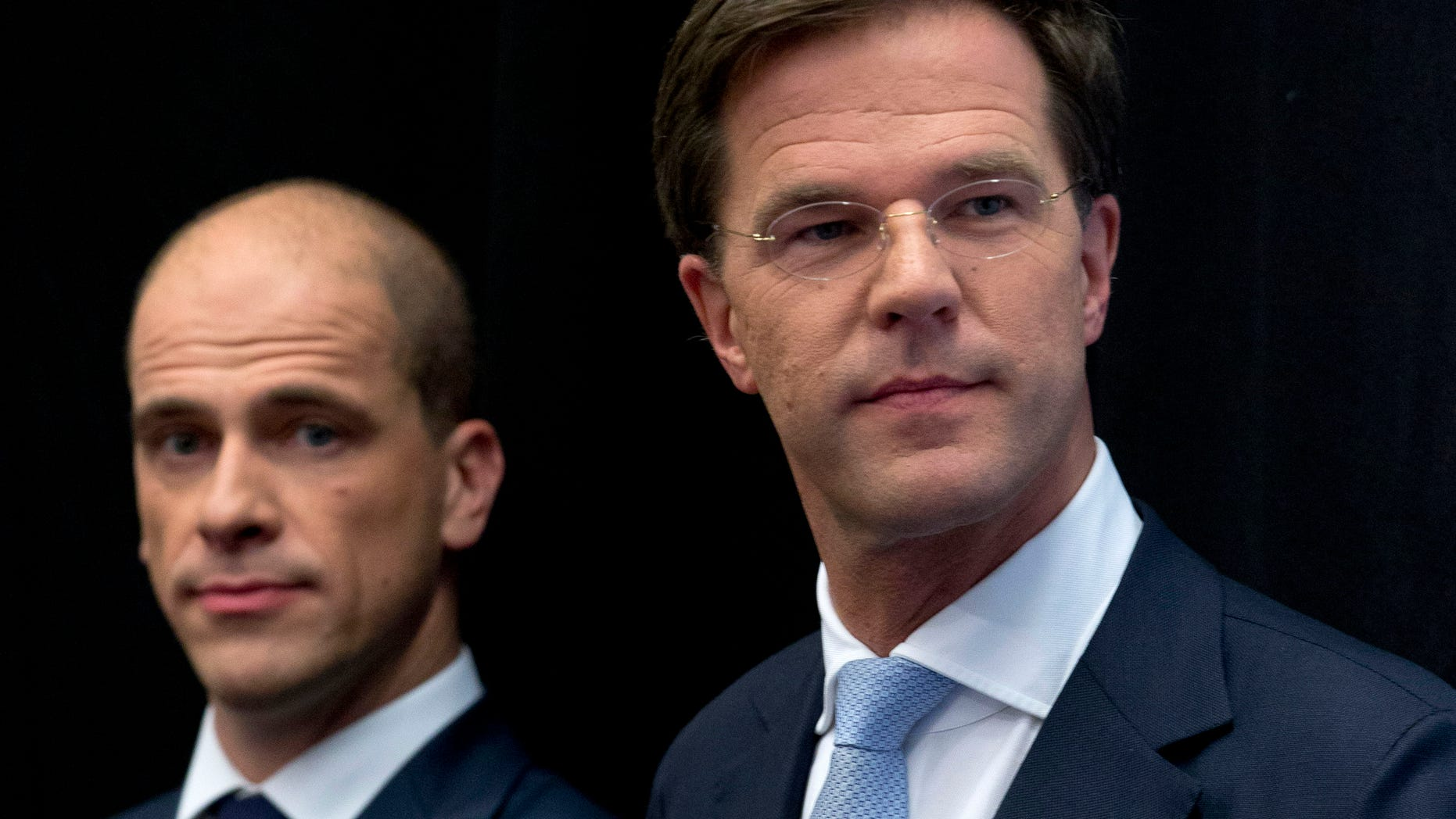 Oct. 29, 2012: Netherlands' caretaker Prime Minister Mark Rutte, right, and Labor Party Leader Diederik Samsom, left, attend a joint news conference in The Hague, Netherlands.