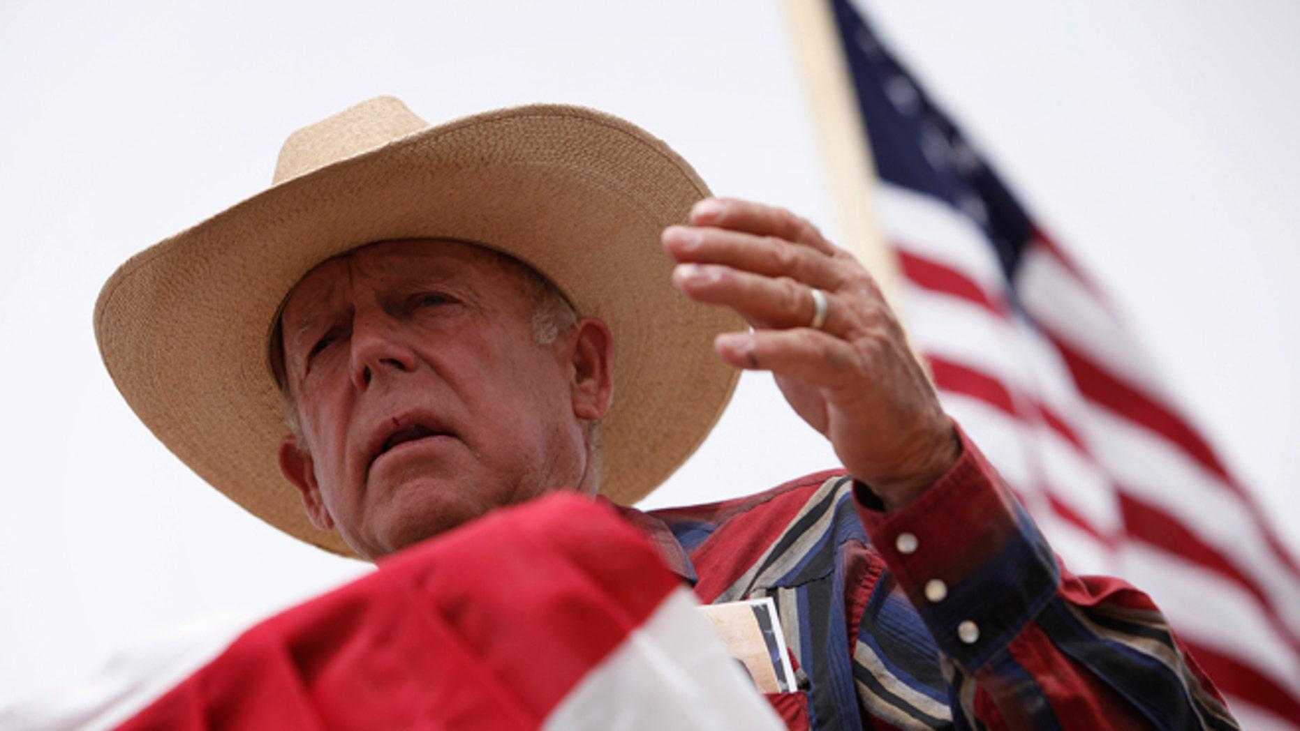 April 18, 2014: Rancher Cliven Bundy speaks at a protest camp near Bunkerville, Nevada.