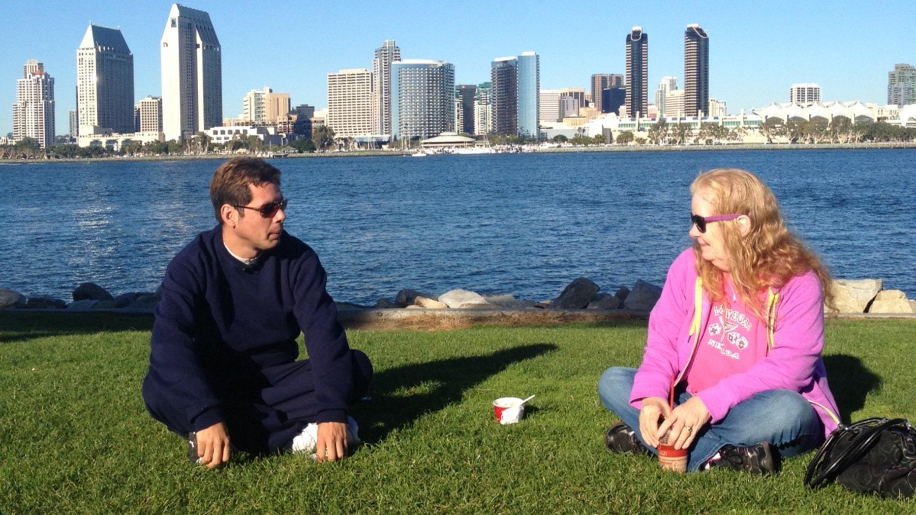 David Amaya Barrick and Kathy Amaya getting to know each other on Coronado Island in San Diego, Nov. 25, 2013. Photo by Freddy Rivas.