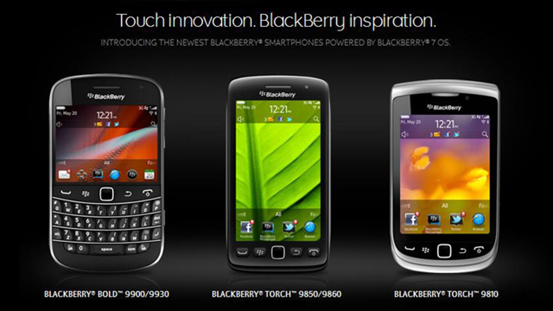 A screenshot of the website for BlackBerry-maker Research in Motion, which just unveiled the newest in its popular line of handhelds.