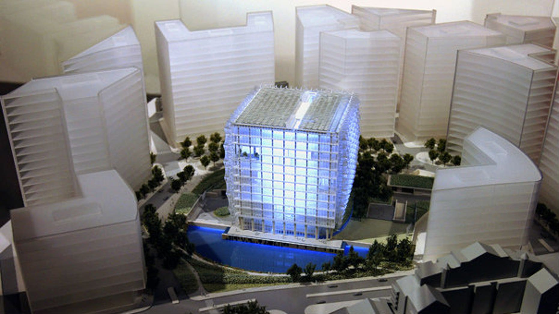 Feb. 23: A model of the winning design for the new U.S. Embassy for London.