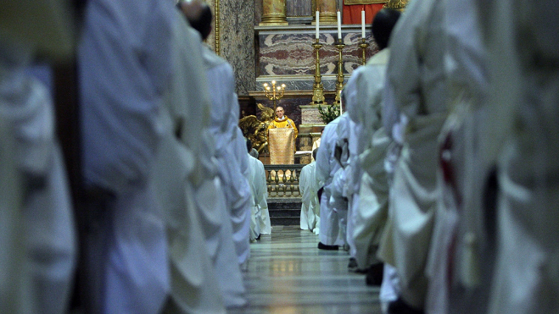 ROME - JANUARY 20:  ROME New elected Superior General of the Society of Jesus father Adolfo Nicolas of Spain celebrates his first mass as head of Jesuits at the Church of Jesus, January 20, 2008, in Rome Italy.  The Superior  of Jesuits is known also as The Black Pope.  (Photo by Franco Origlia/Getty Images)