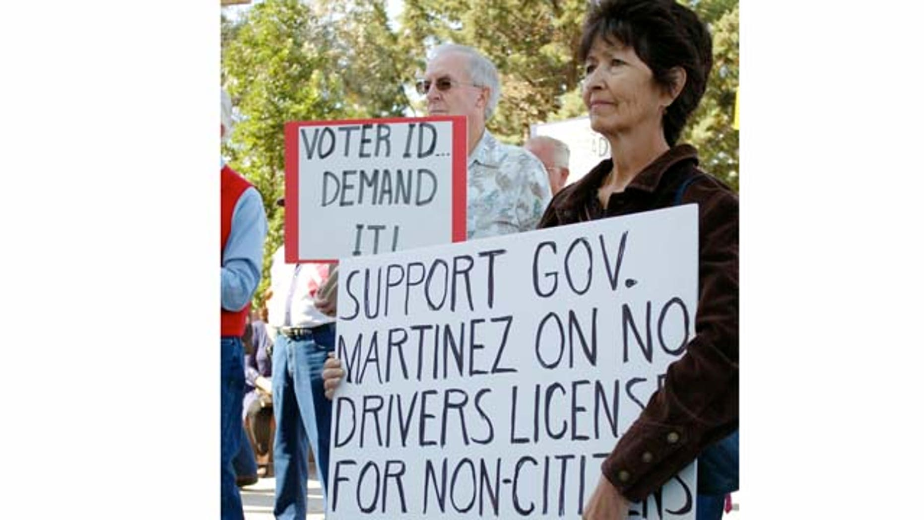 Linda Sedillos, 59, right, of Albuquerque, N.M., and other Tea Party activists held a counter-rally after immigrant advocates came to lobby state lawmakers on keeping a New Mexico law that allows undocumented immigrants to obtain driver's licenses.