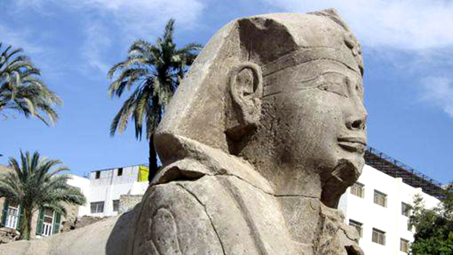 A reconstructed Sphinx statue in Luxor, discovered not within the well known Avenue of the Sphinxes but at the end of a newfound road.