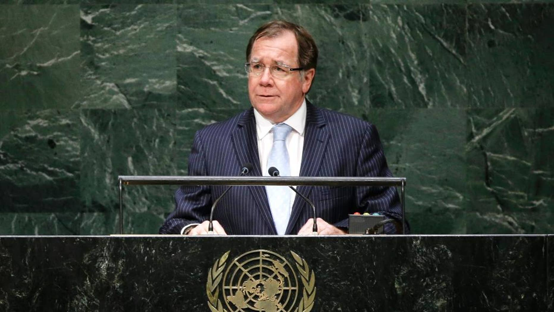 FILE - In this Sept. 29, 2014 file photo, New Zealand Foreign Minister Murray McCully addresses the 69th session of the United Nations General Assembly at U.N. headquarters. New Zealand in October was one of five nations to win elections for coveted seats on the U.N. Security Council. It will serve a two-year term as a non-veto-wielding member beginning in January. McCully spoke about what the win means in an interview on Friday, Oct. 31, 2014. (AP Photo/Frank Franklin II, File)