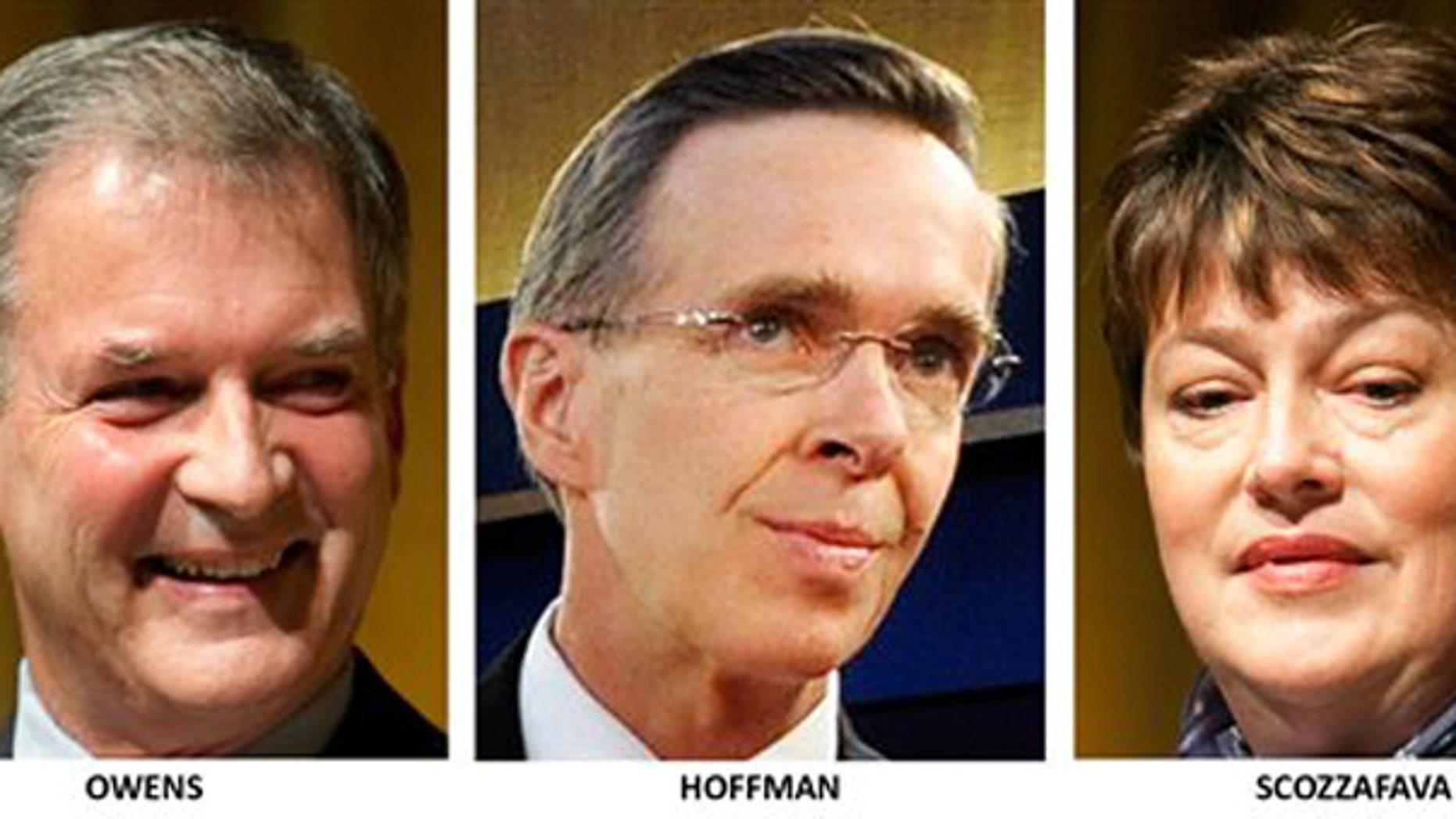 Congressional candidates in New York's 23rd district: Democrat Bill Owens, Conservative Party Dan Hoffman, and Republican Dede Scozzafava. (AP)