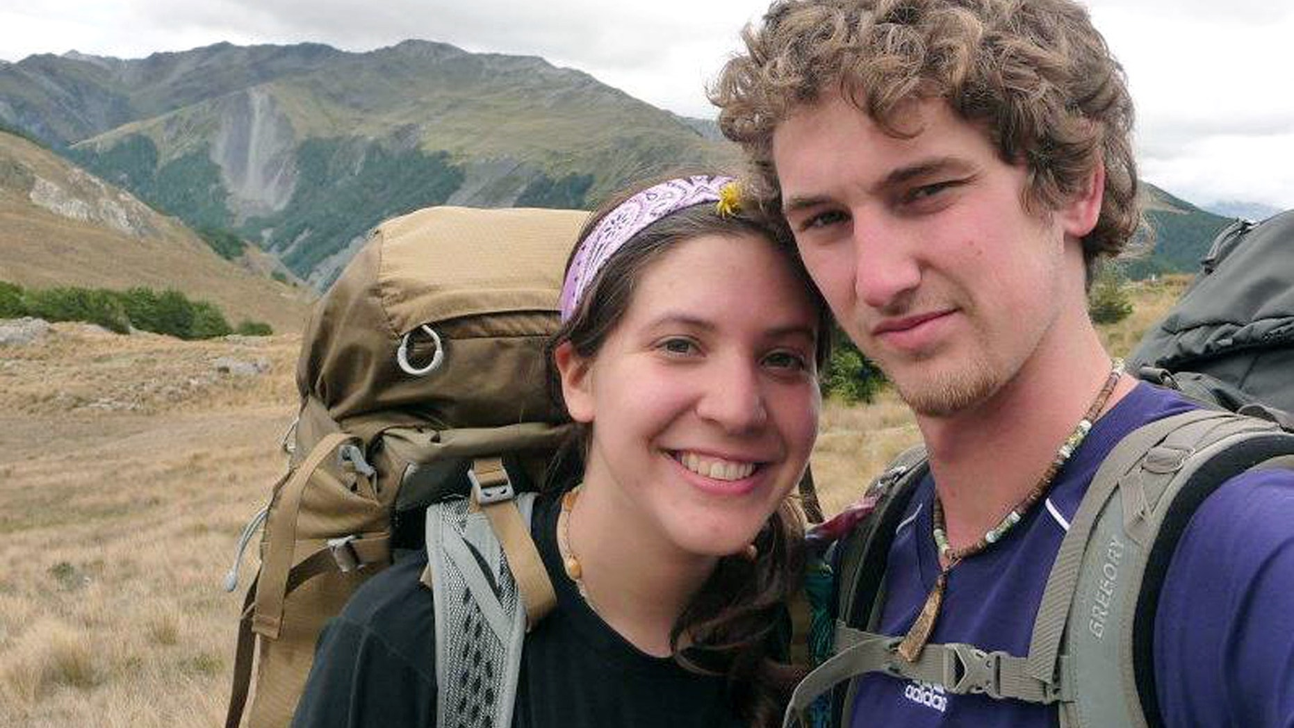 FILE: Alec Brown and his girlfriend Erica Klintworth pose near mountains at an unknown location.