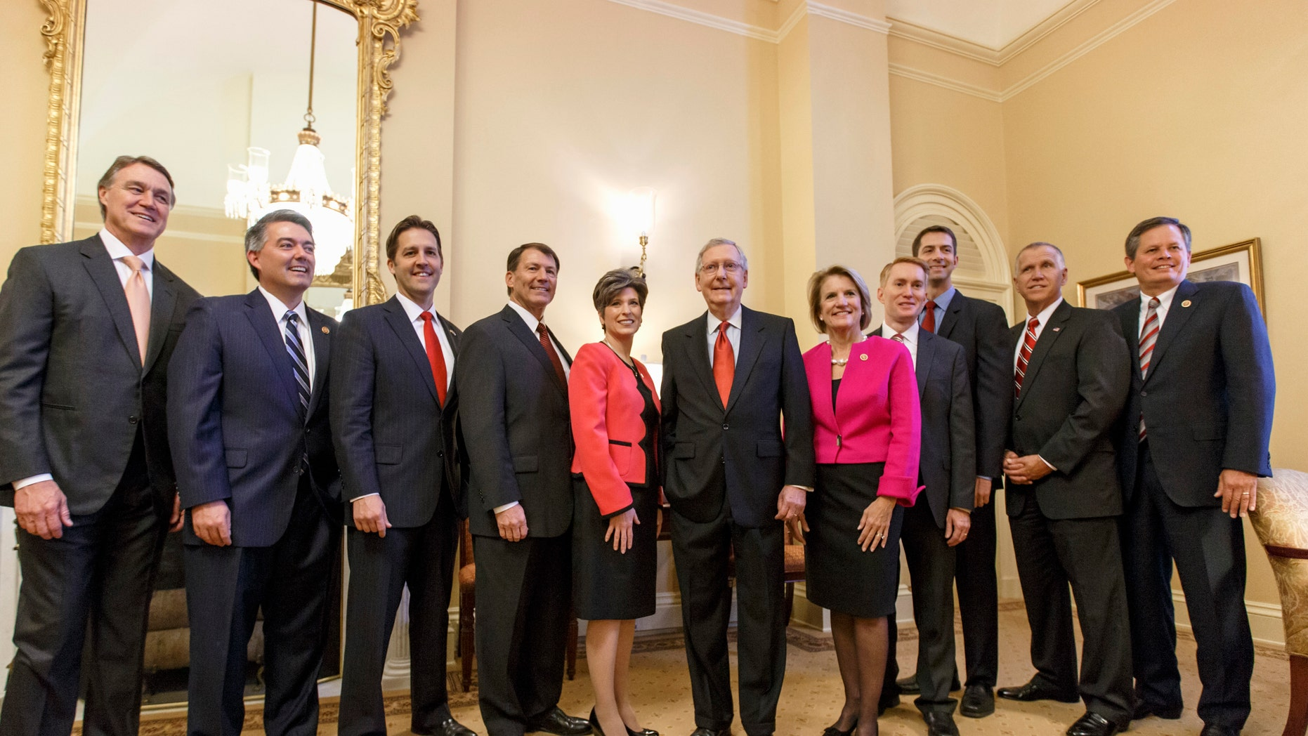 Nov. 12, 2014: Senate Minority Leader Mitch McConnell flanked by 10 newly-elected GOP senators. Washington, D.C .
