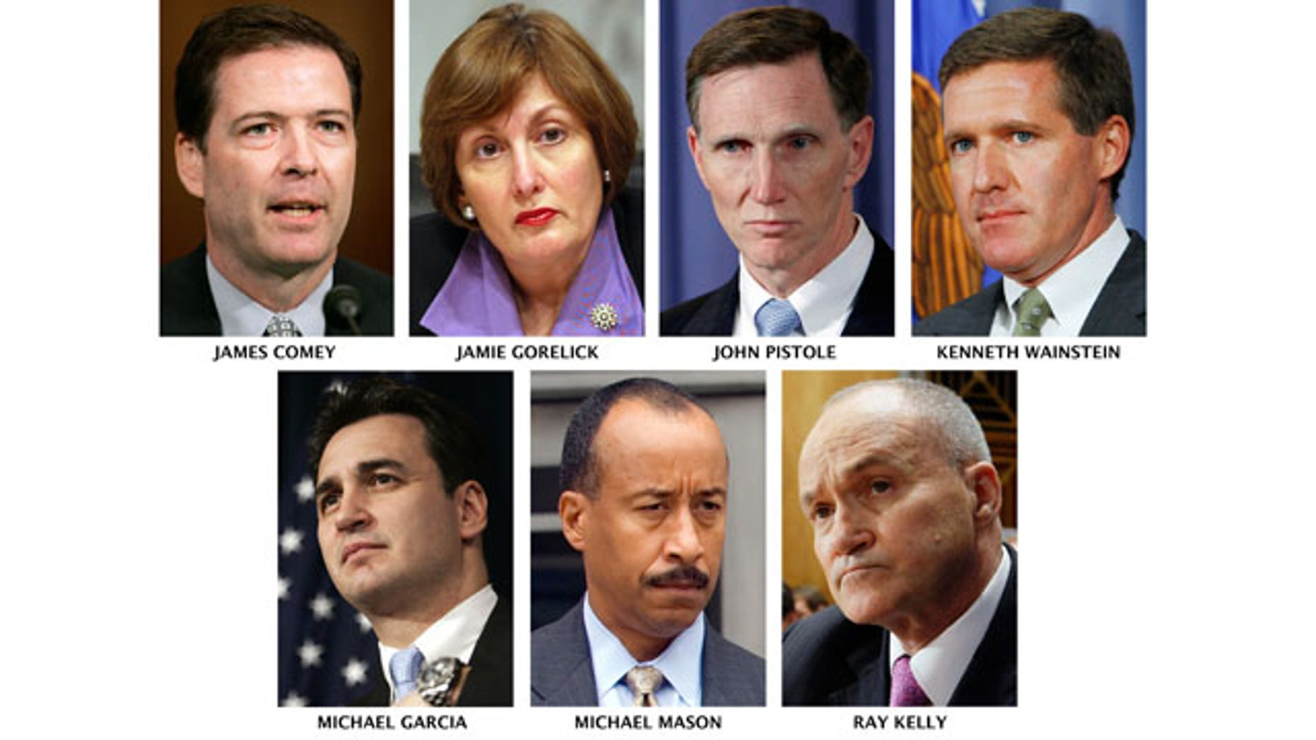This image shows possible successors to FBI Director Robert Mueller, whose 10-year nonrenewable term expires Sept. 4. James Comey and Kenneth Wainstein are both former Bush administration law enforcement officers who served in sensitive national security-related posts.