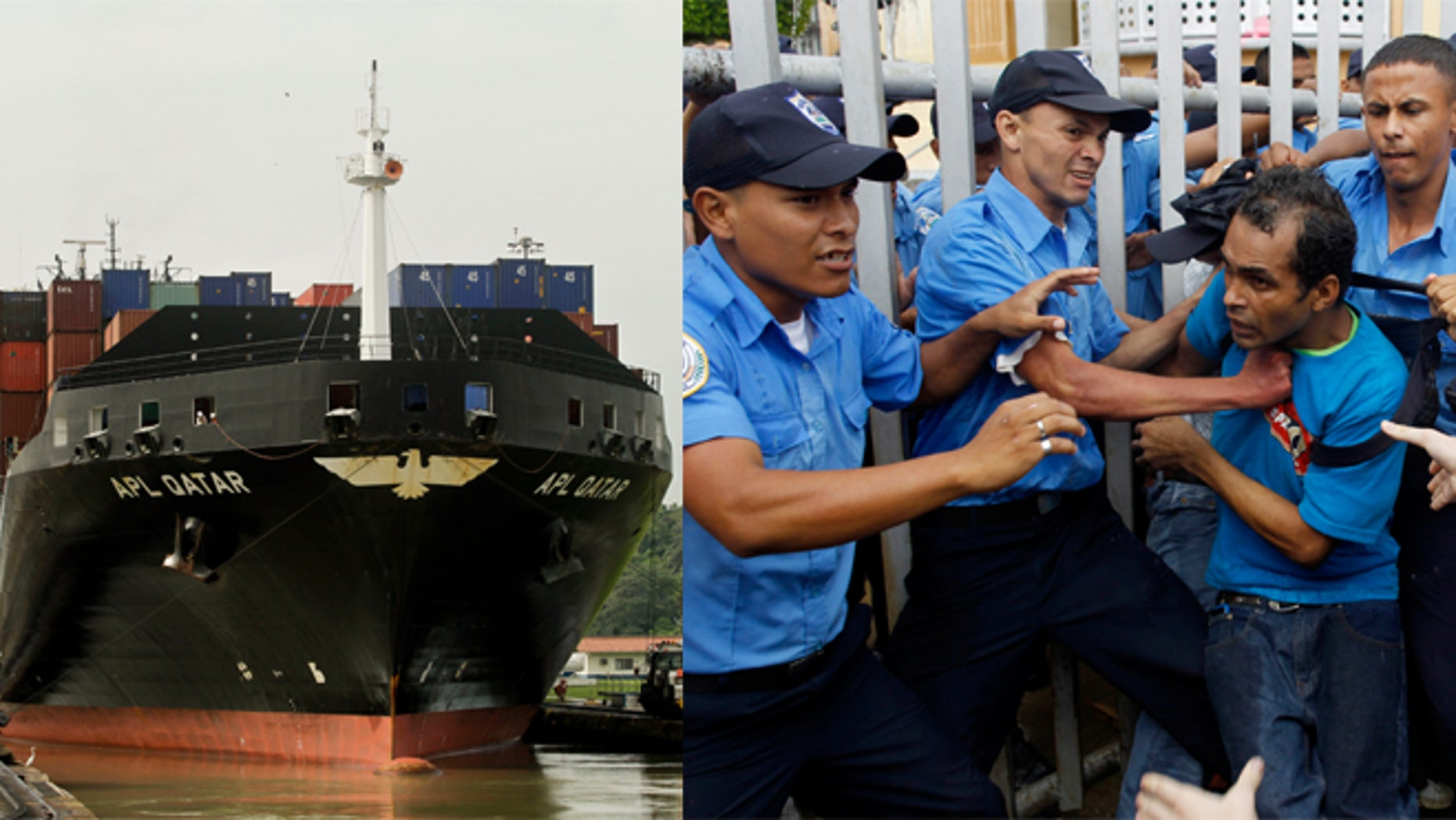 Panama Canal pictured on the left. On the right, Anti-government demonstrators scuffle with police officers in front of Nicaragua's National Assembly during a protest against the project to build an inter-oceanic canal in the country in Managua, Nicaragua, Thursday, June 13, 2013.