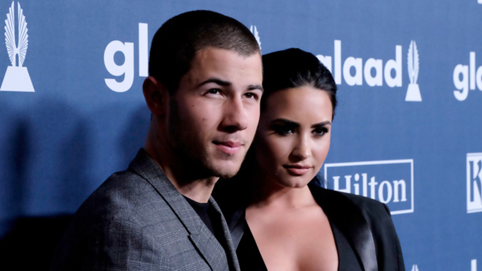 Nick Jonas and Demi Lovato attend the Annual GLAAD Media Awards at the Beverly Hilton Hotel on April 2, 2016.