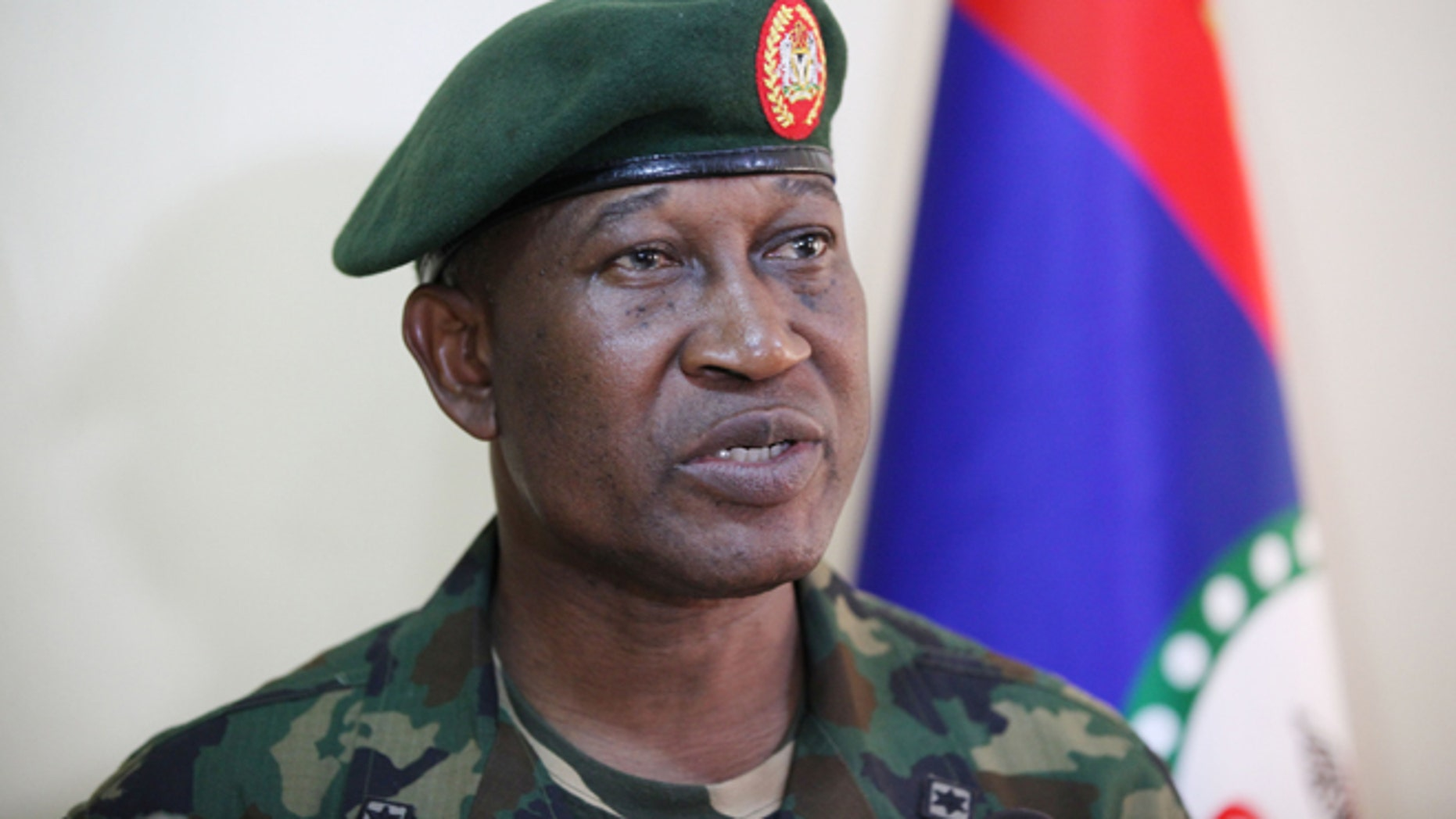 May, 30 2013: In this file photo, Brig. Gen. Chris Olukolade, Nigeria's top military spokesman speaks during an interview in Abuja, Nigeria.