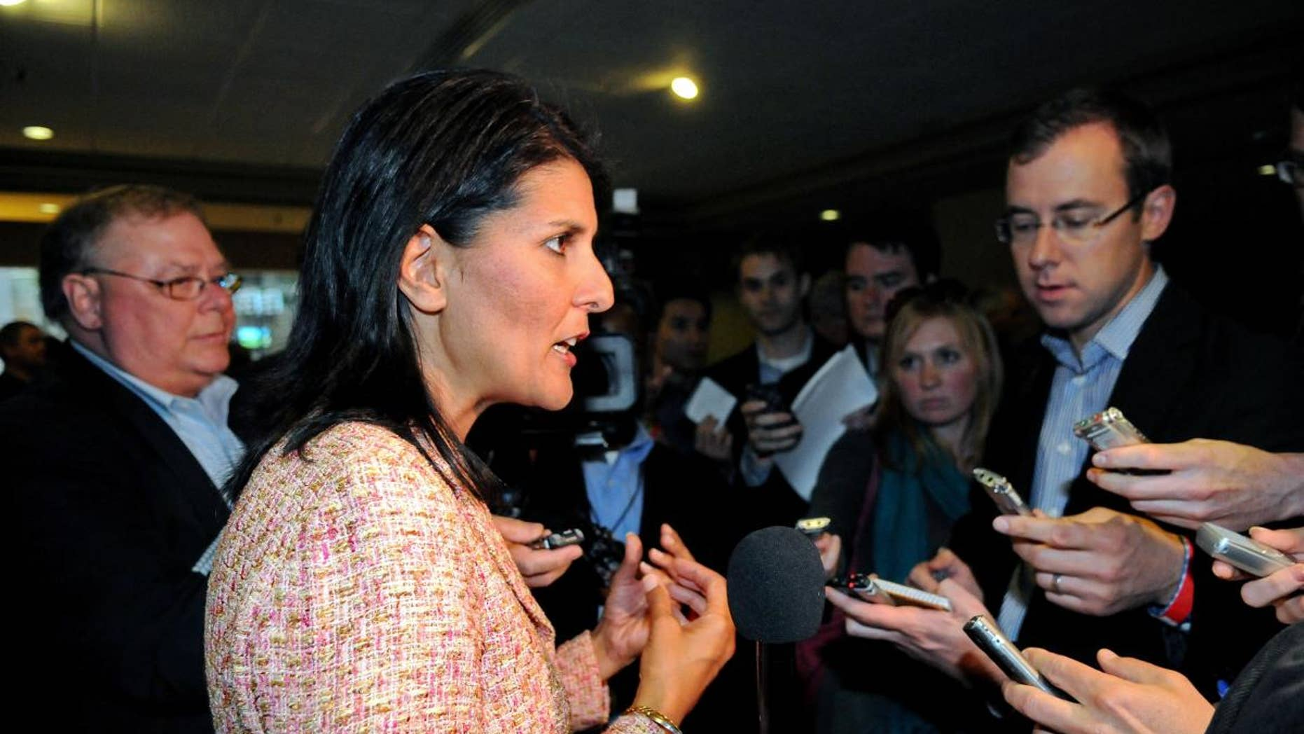 South Carolina Gov. Nikki Haley (R) speaks to reporters in this file photo.