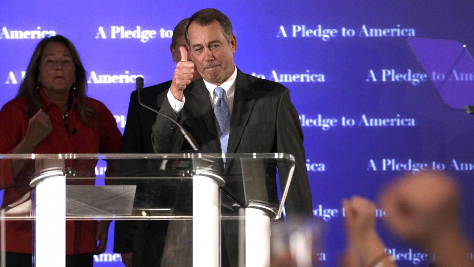 Speaker of the House Designate John Boehner Speaks on Election Night (AP Photo)